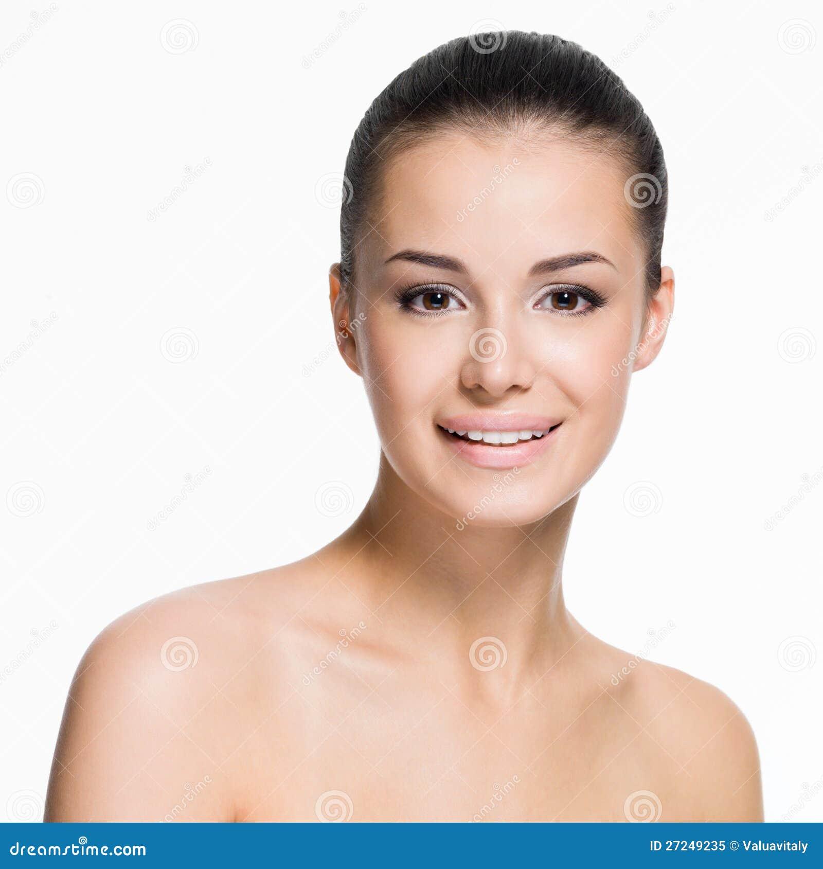 Frau Gesicht: Schönes Gesicht Der Lächelnden Frau Lizenzfreies Stockfoto