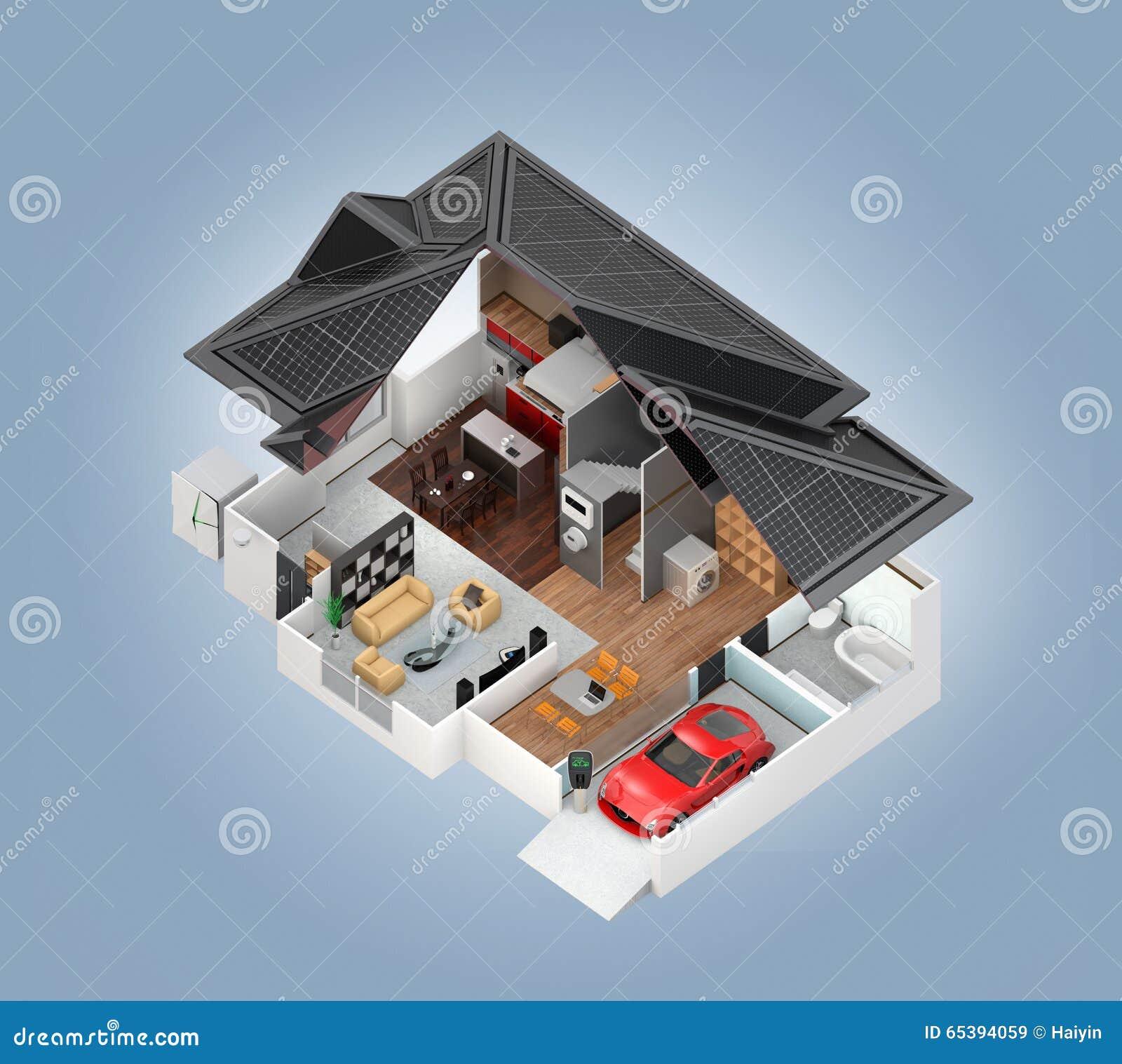 Schnittperspektive Des Intelligenten Hausinnenraums Stock Abbildung ...