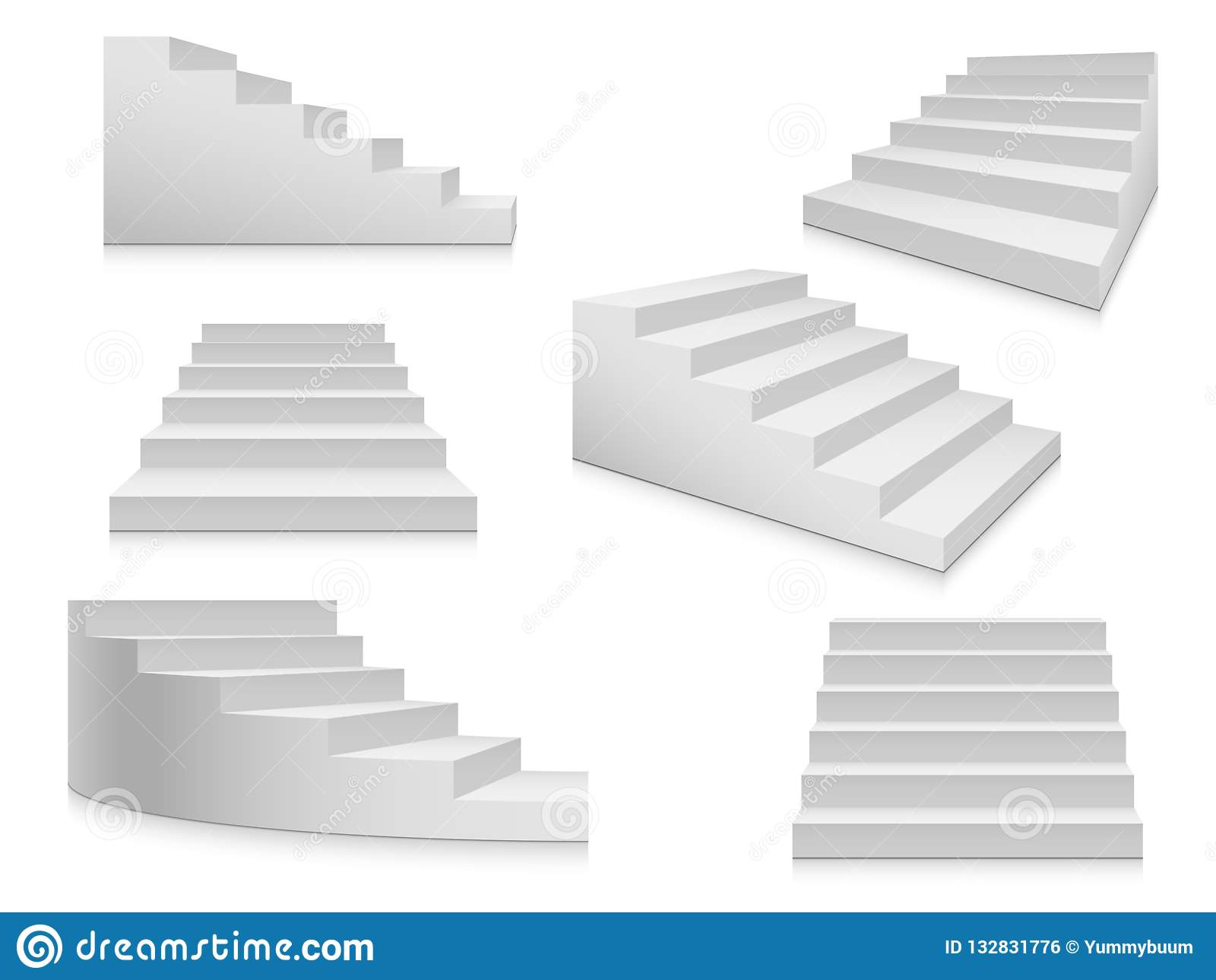 Schody białe Schody, 3d schody, wewnętrzni schody odizolowywający Krok drabiny architektury elementu wektoru kolekcja