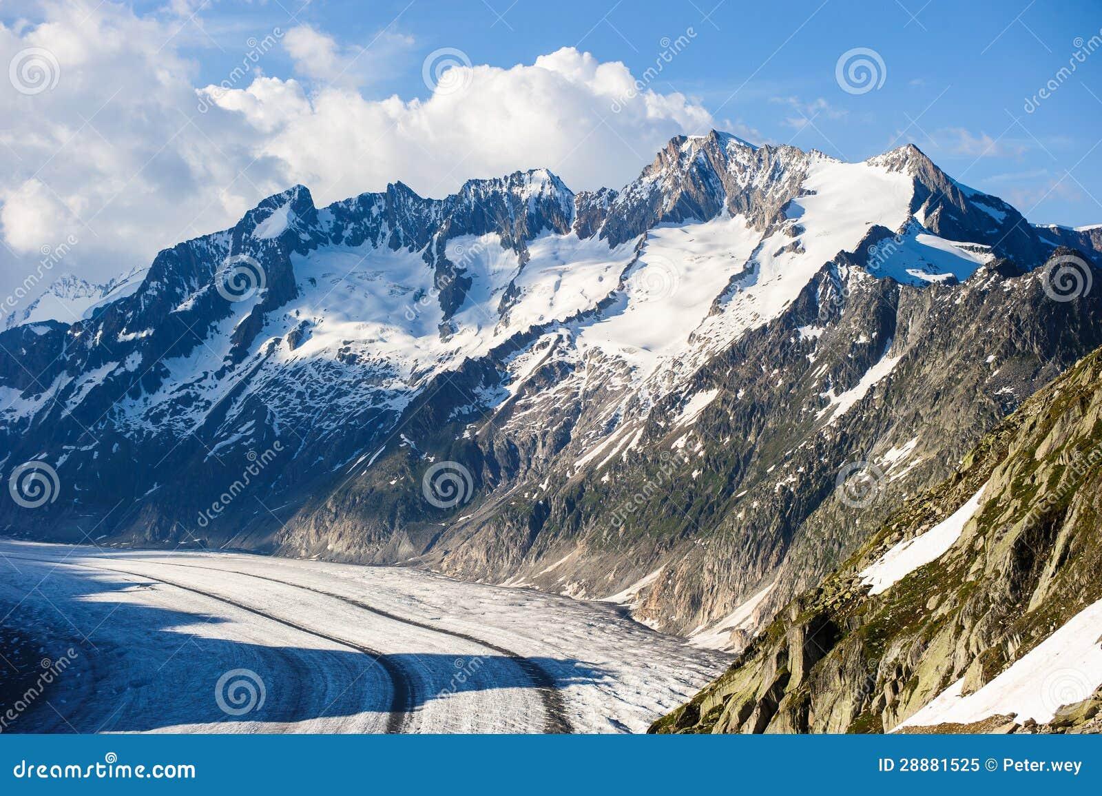 Schoenenbuelhorn and Wannenhorn with aletsch glacier
