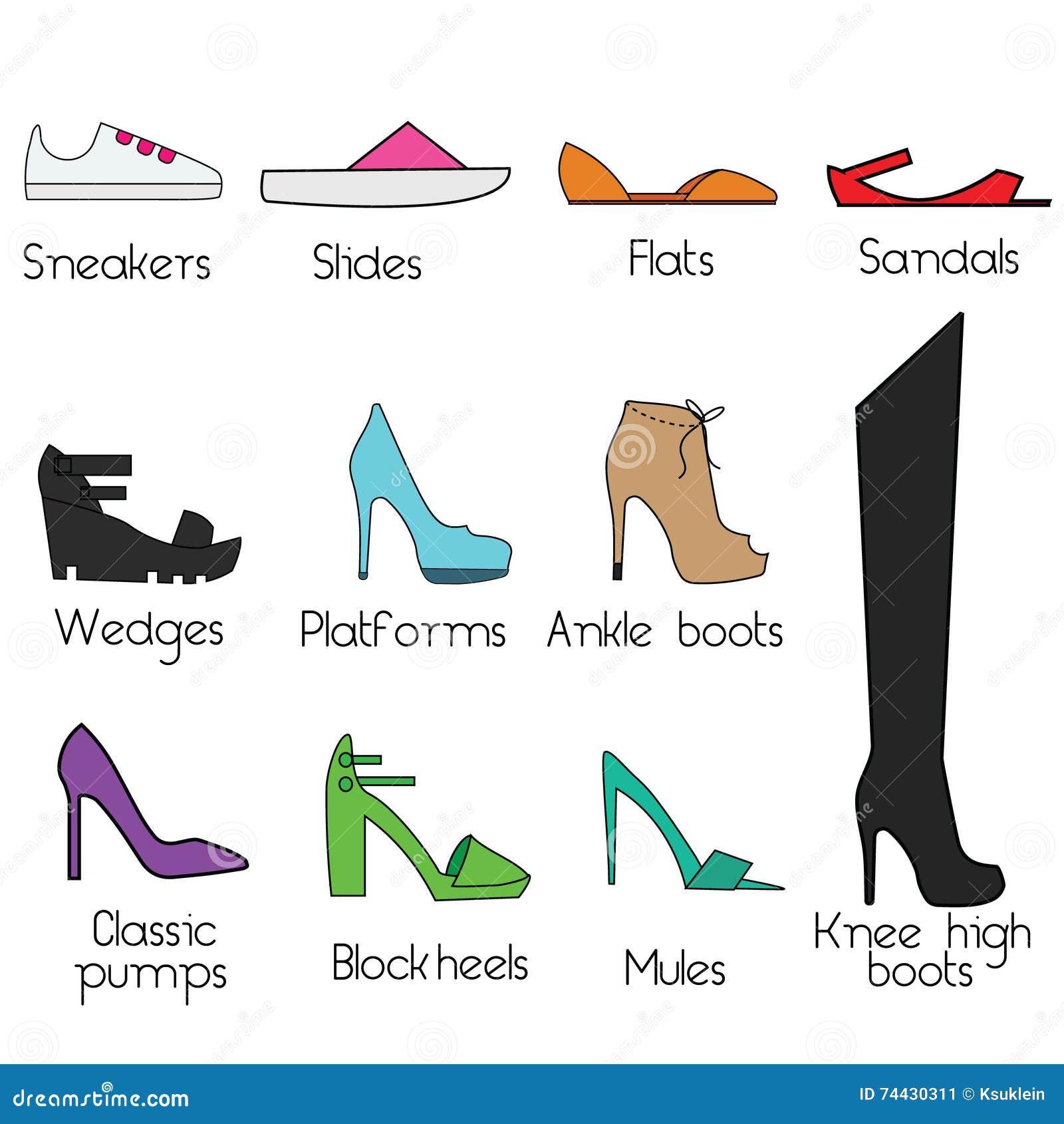 Schoenenmodellen voor vrouwen Vector geplaatste pictogrammen, ontwerpelementen