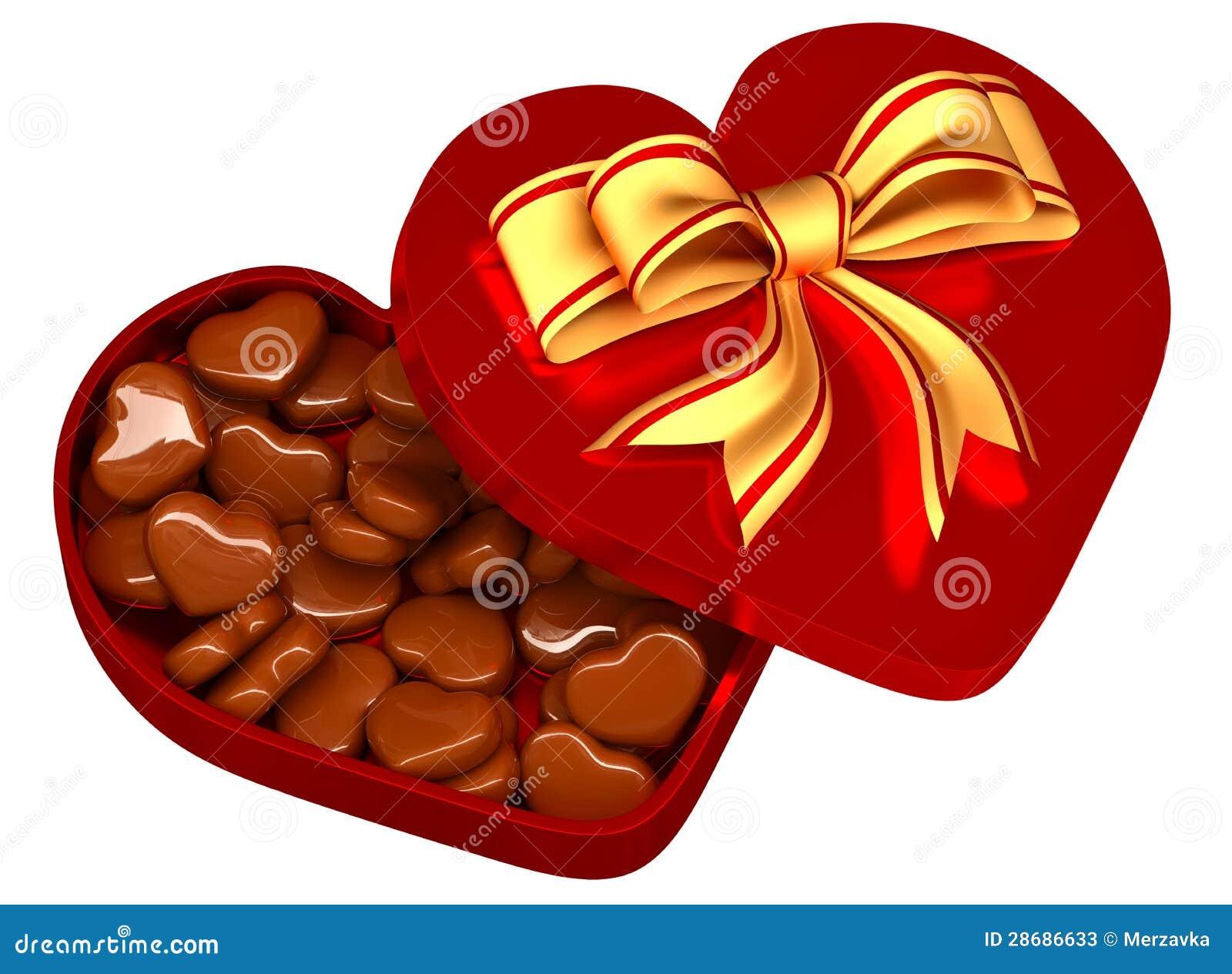 Schön Schokolade In Einem Kasten Als Geschenk Für Valentinstag