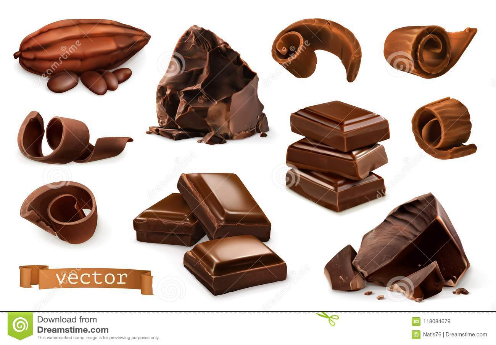 Schokolade Stücke, Schnitzel, Kakaofrucht Ikonensatz des Vektors 3d