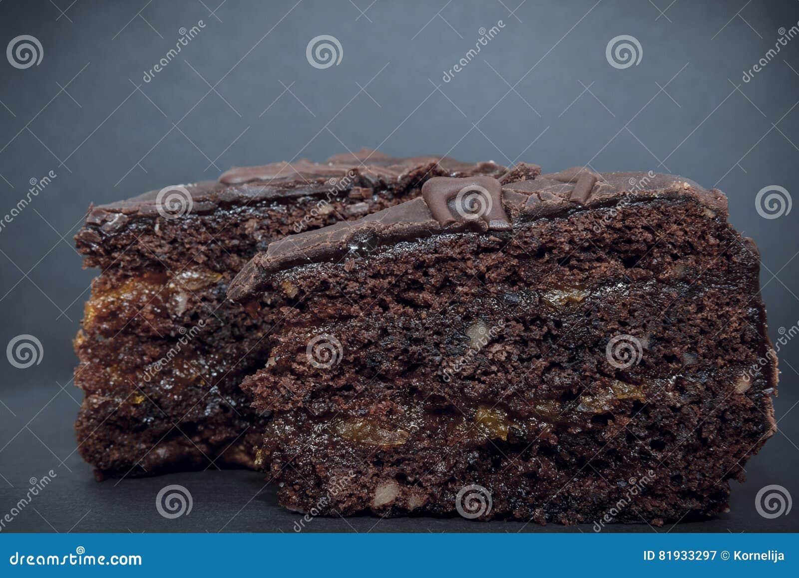 Schokolade Torte Mit Aprikosen Marmelade Stockbild Bild Von