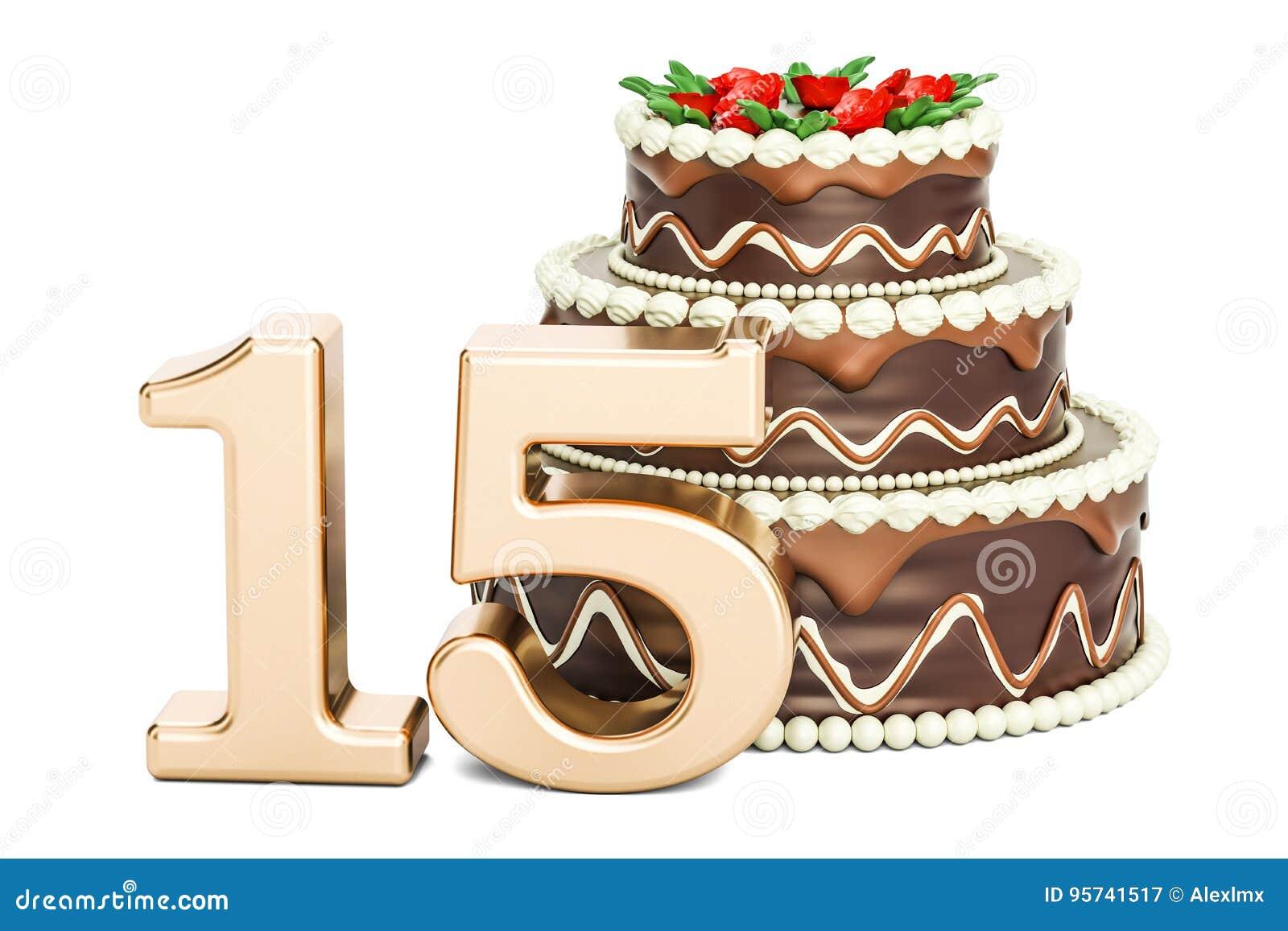 Schokoladen Geburtstagskuchen Mit Goldener Nr 15 Wiedergabe 3d