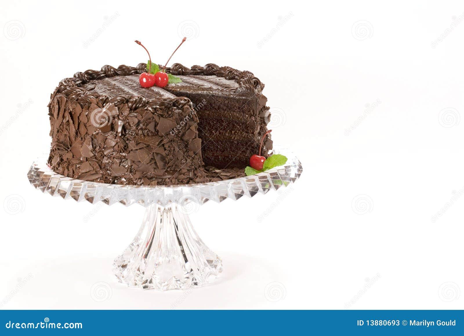 Schokoladen-Kuchen mit Kirschen