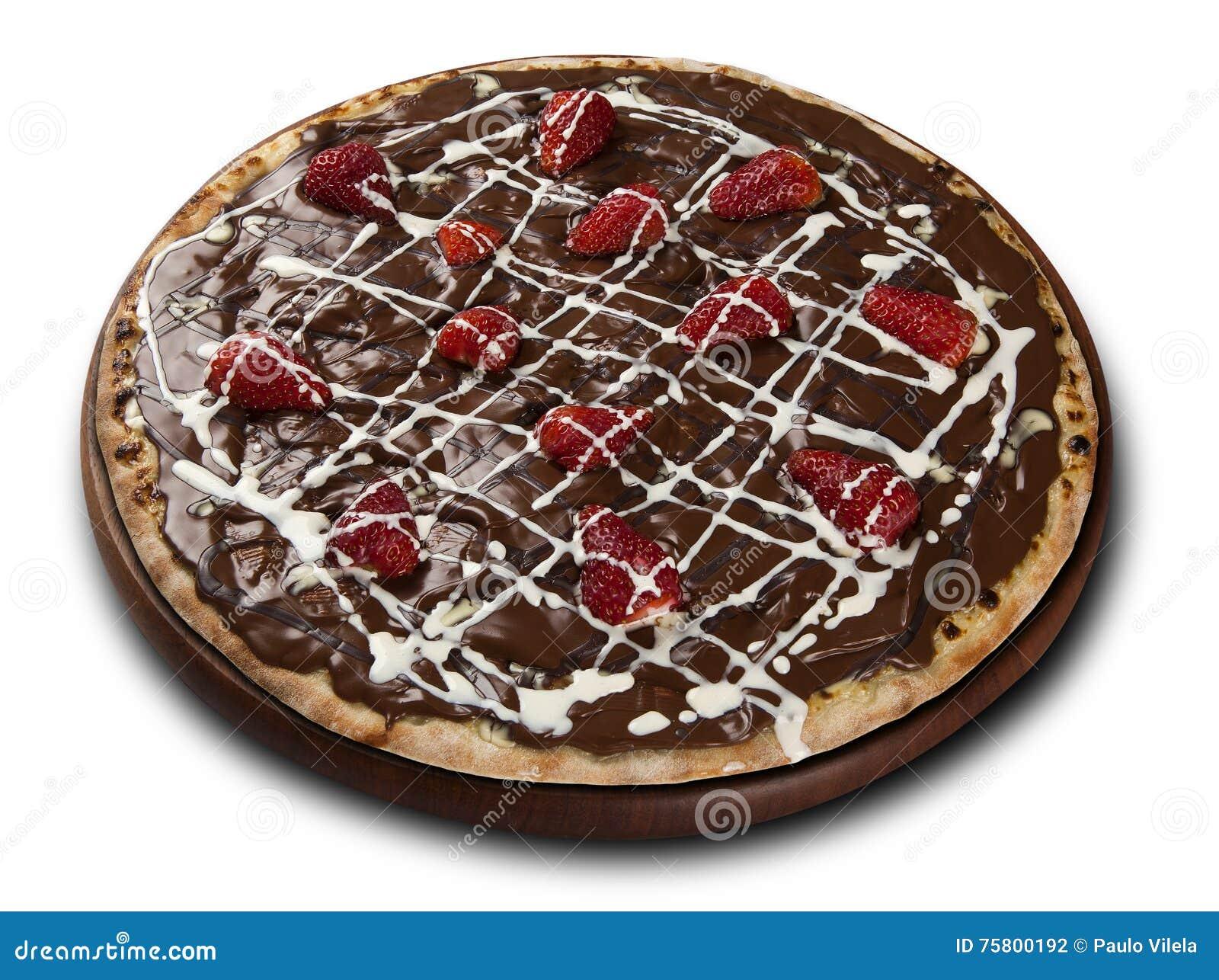 Schokoladen Pizza Süße Erdbeere Und Schokolade Der Pizza Stockfoto