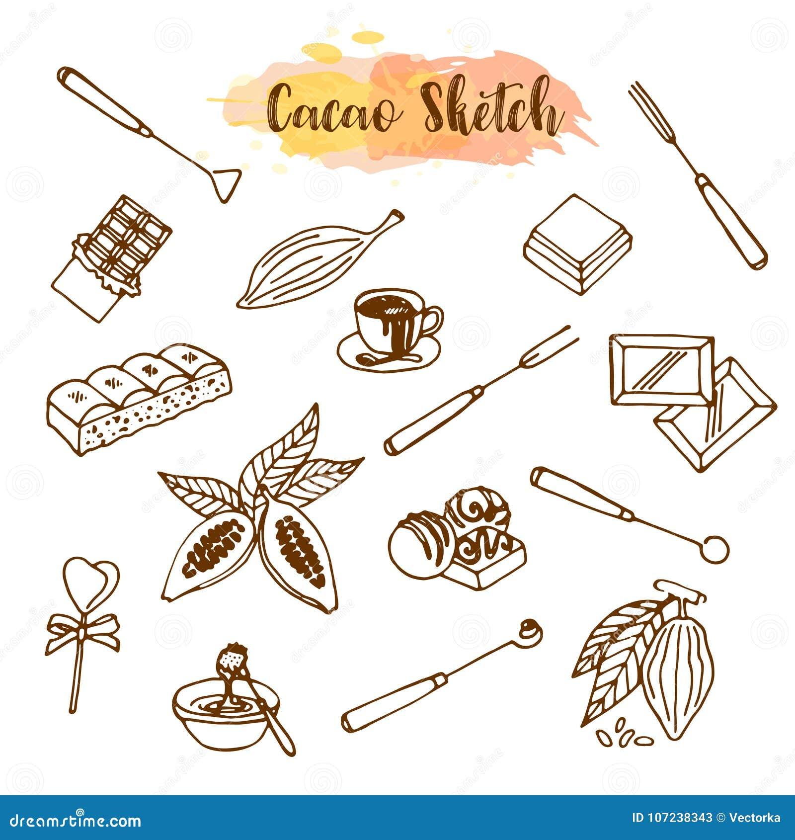 Schokoladenkakaoskizze Entwerfen Sie Menü für Restaurant, Shop, die Süßigkeiten, kulinarisch, Café, Cafeteria, Bar Vektorabbildun