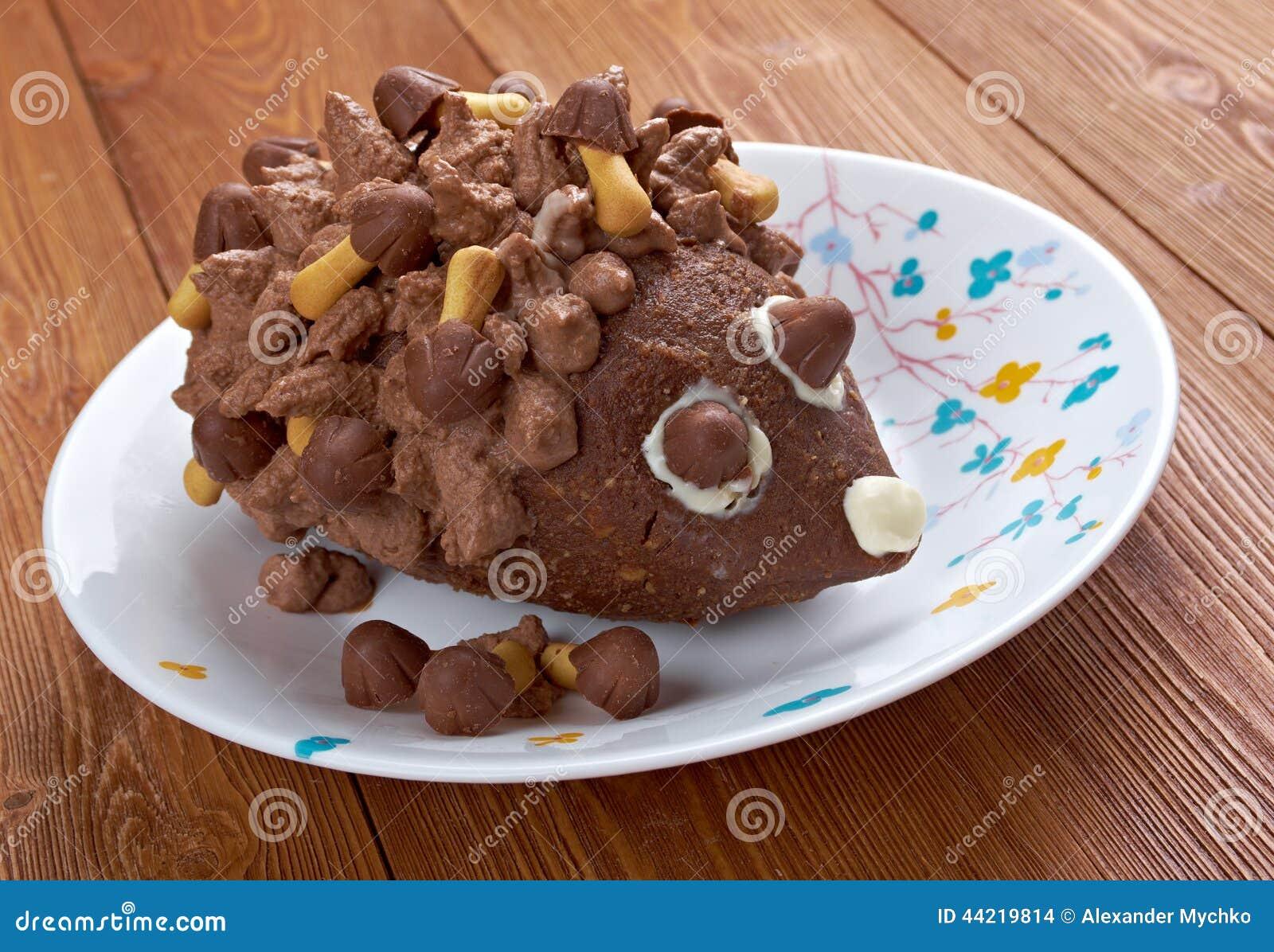 Schokoladenkuchen Der Kinder Igeles Stockfoto Bild Von Nahrung