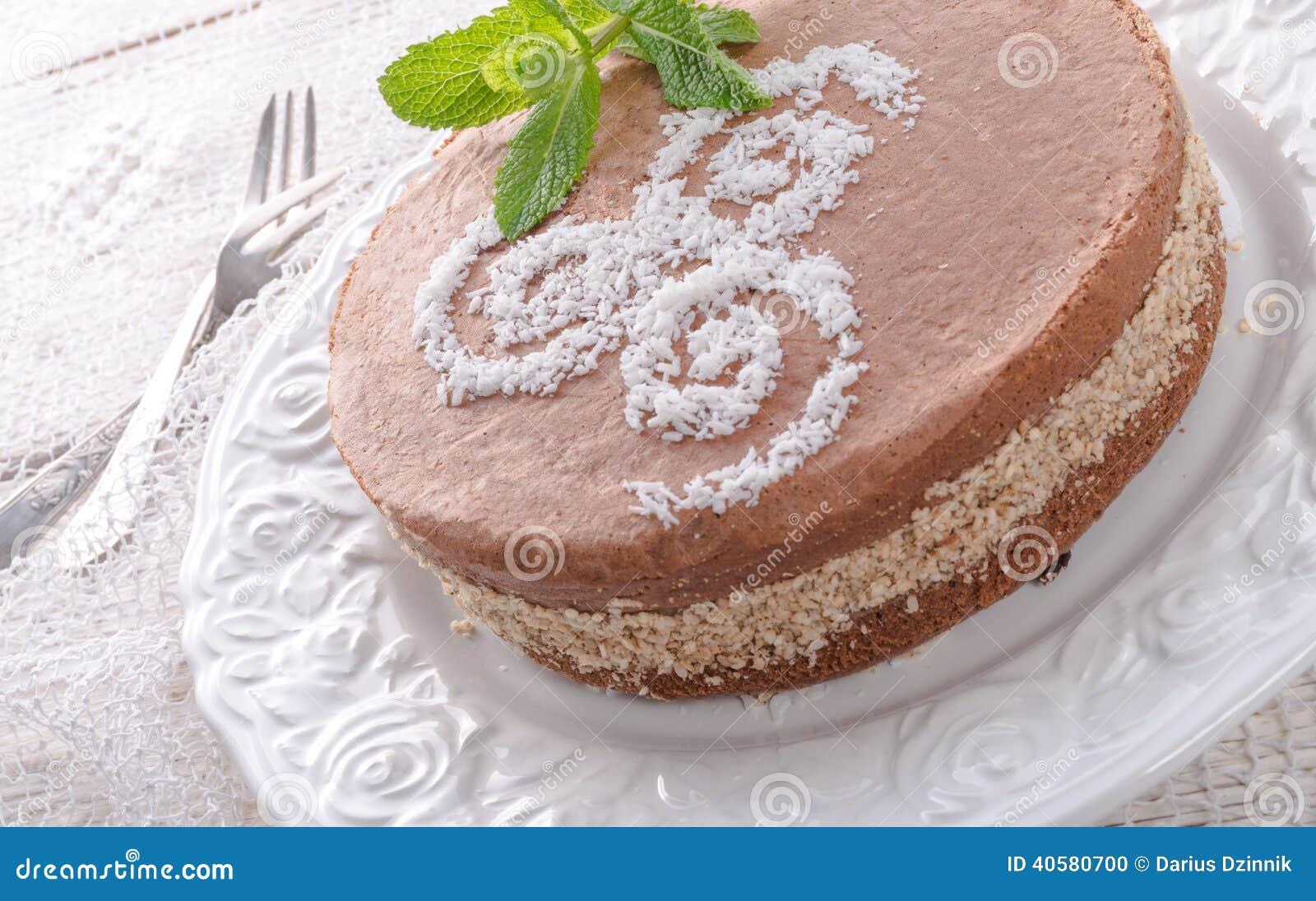 schokoladenkuchen mit nussf llung stockfoto bild 40580700. Black Bedroom Furniture Sets. Home Design Ideas