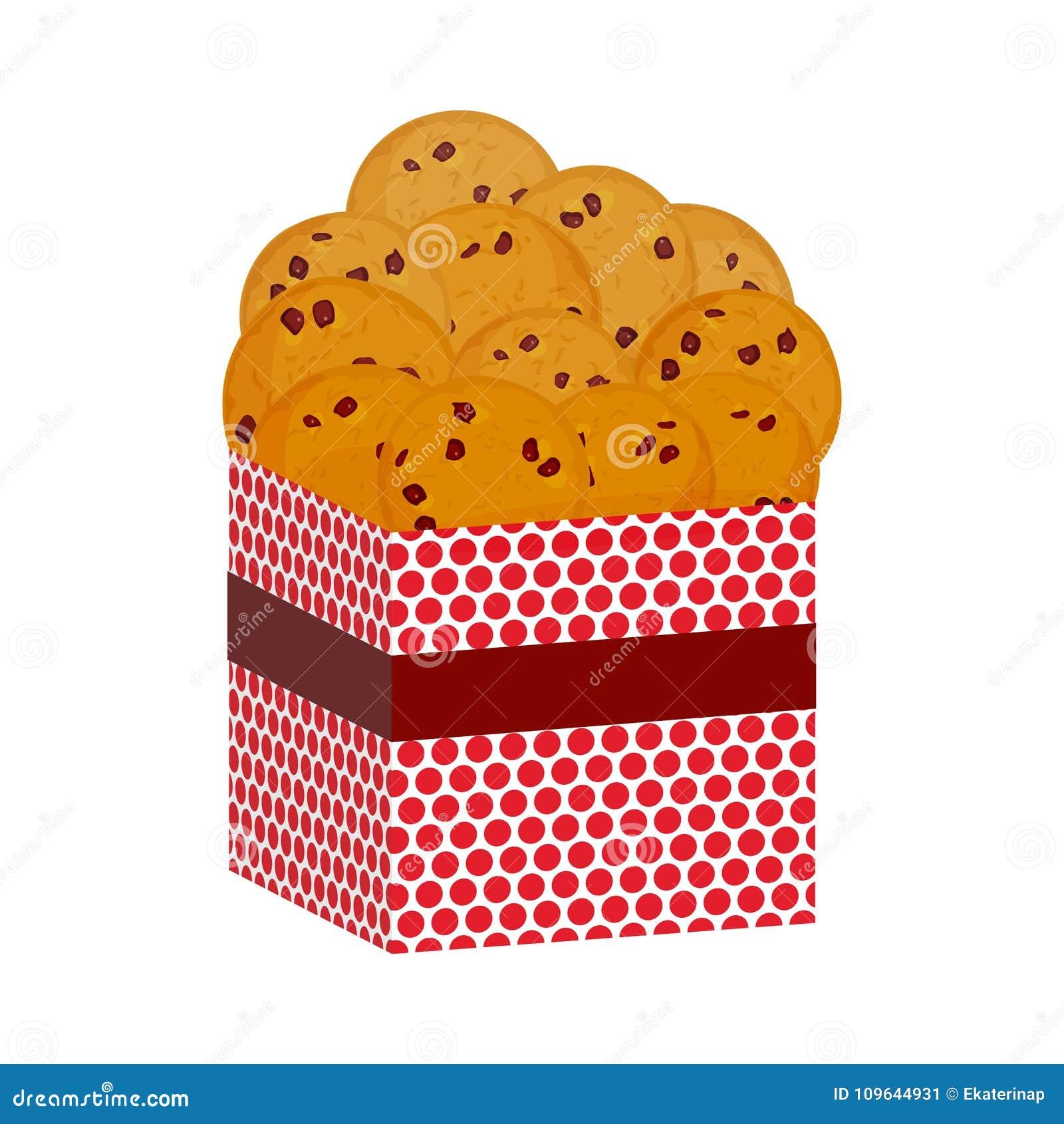 Schokoladensplitterplätzchen, frisch gebacken vier Plätzchen Anwesende rosa Geschenkbox mit Keksen Helle Farben auf weißem Hinter