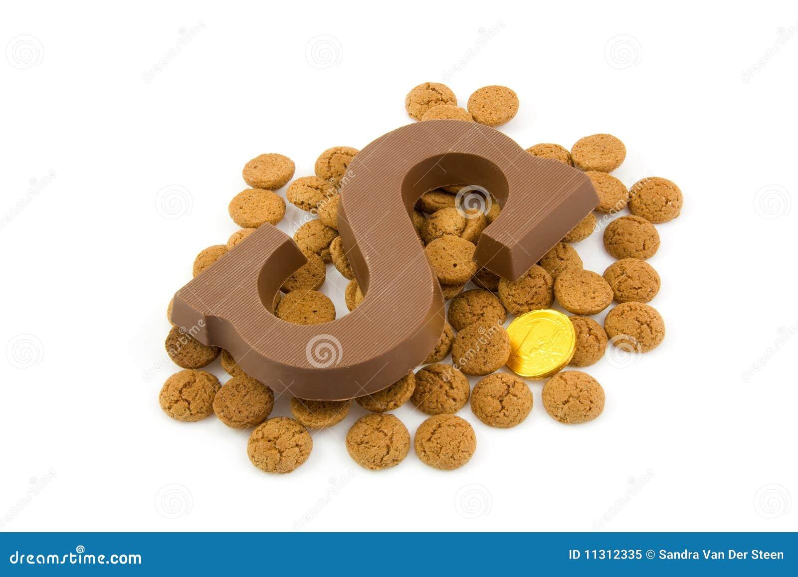 Schokoladenzeichen S und Ingwermuttern für Sinterklaas