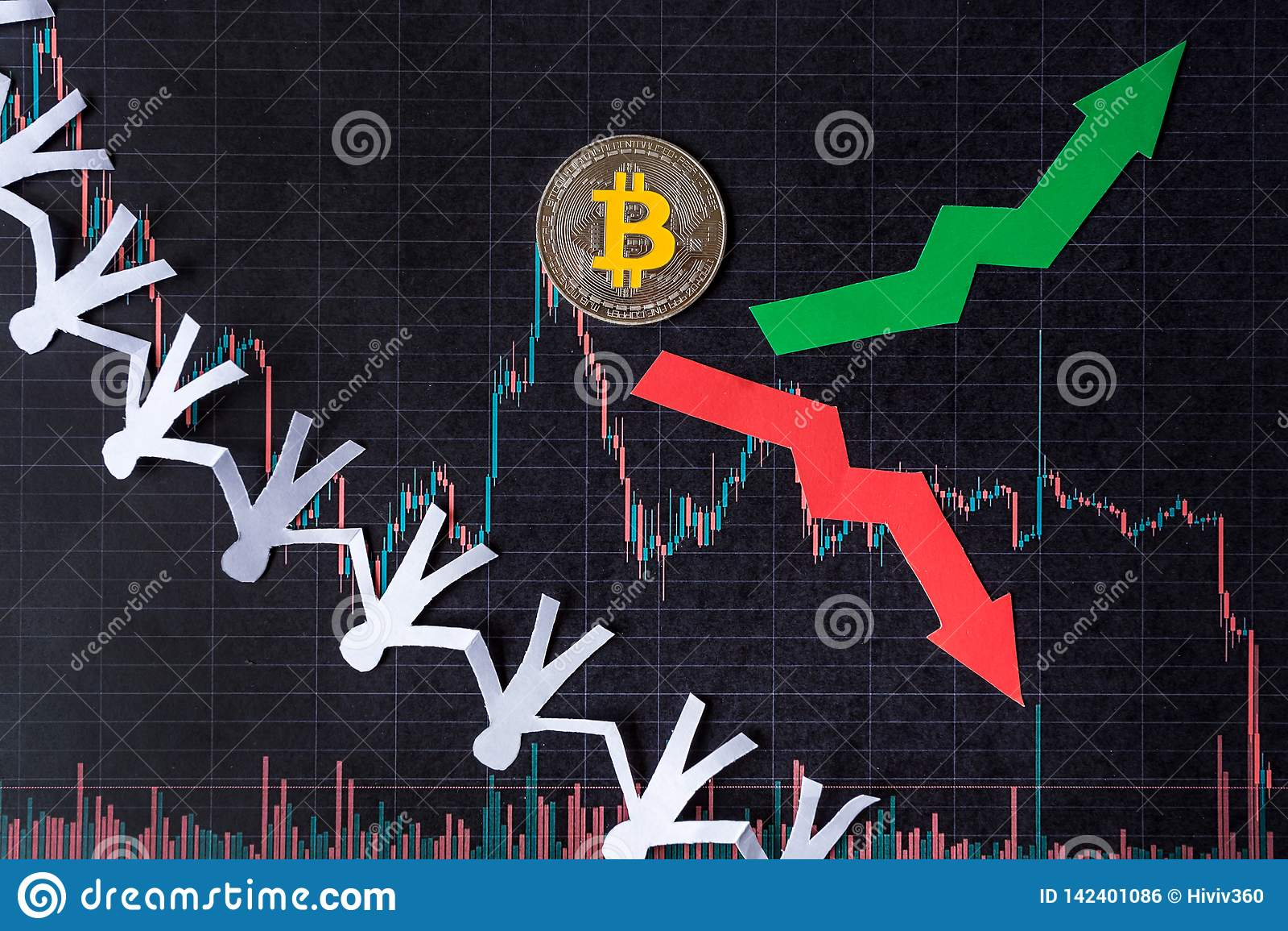 Schommelingen en het voorspellen van wisselkoersen van virtueel geld bitcoin Rode en groene pijlen met gouden Bitcoin-ladder op z