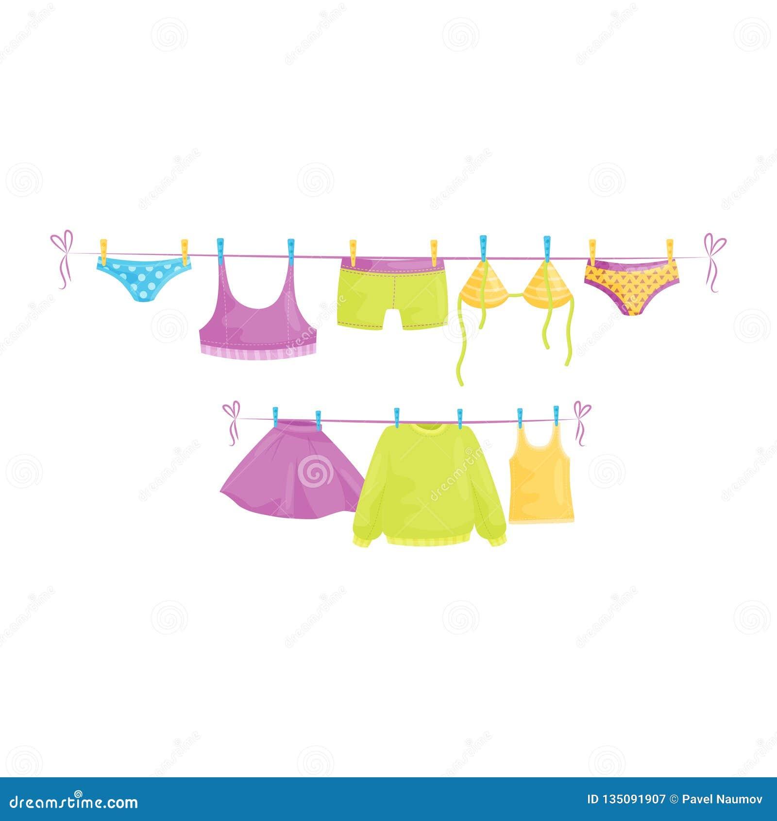 Schone kleren die op kabels hangen Vrouwelijk kledingstuk Wasserijthema Vlak vectorontwerp