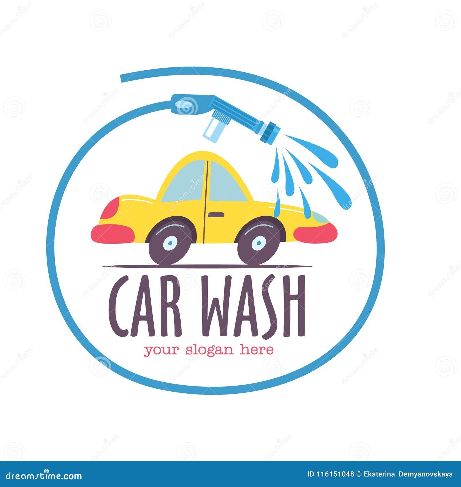 Schone machine, autowasserette met spons en slang Auto in beeldverhaalstijl bij de autowasserette embleem