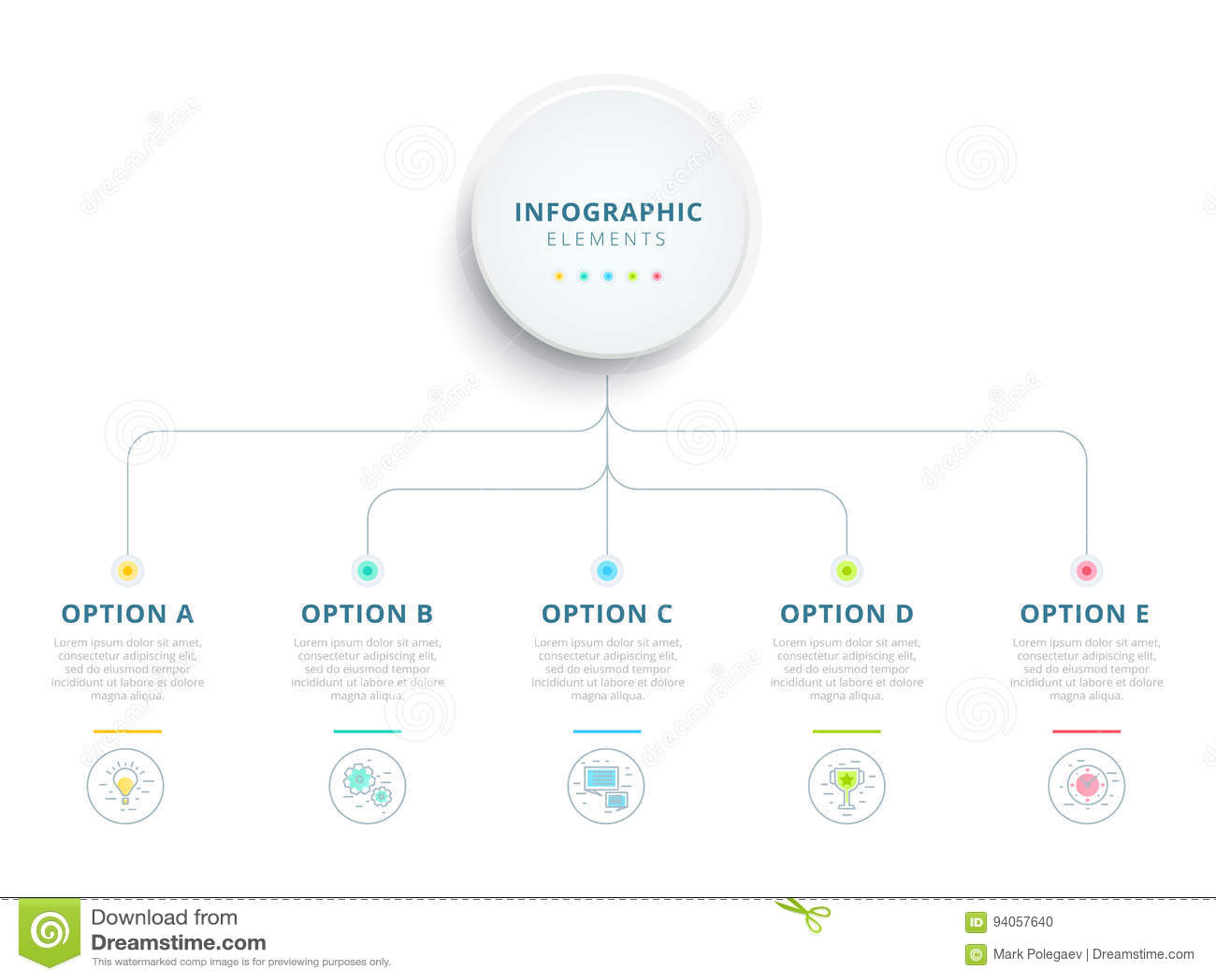 Schone minimalistic zaken 5 wi van de grafiekinfographics van het stapproces