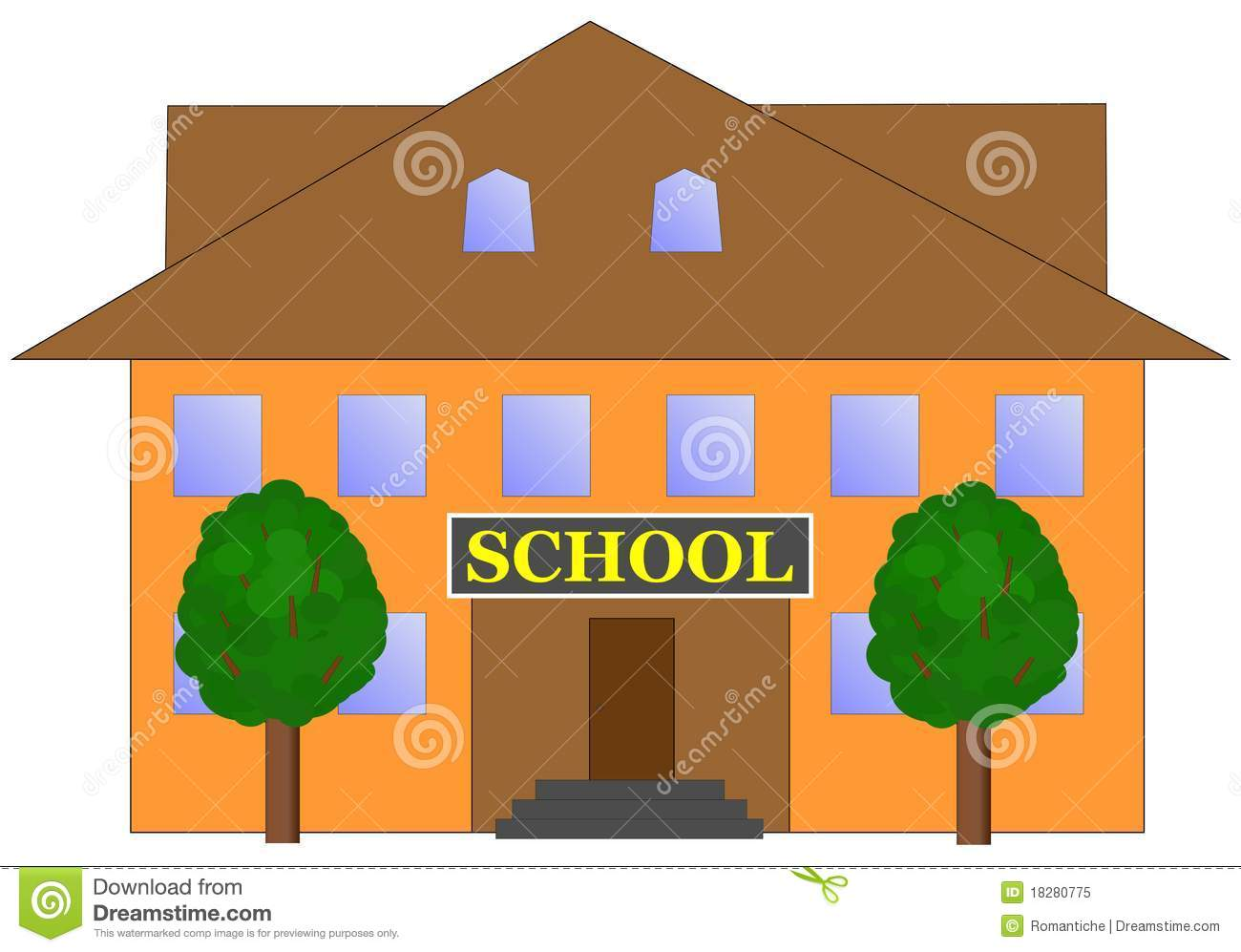 High School Building Clip Art School building and two trees