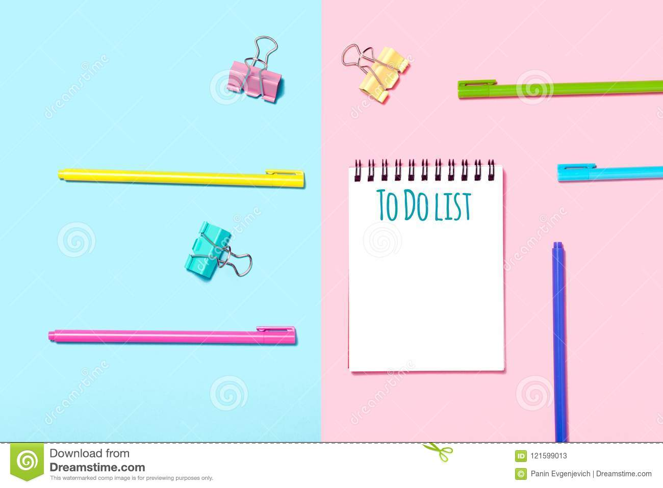 school accessories are laid out in the form of a rainbow and to do