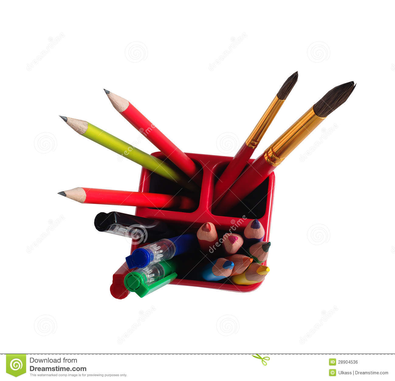 Download School Accessories: Pencils, Brushes, Pens In A Glass Stock Photo - Image of design, accessories: 28904536