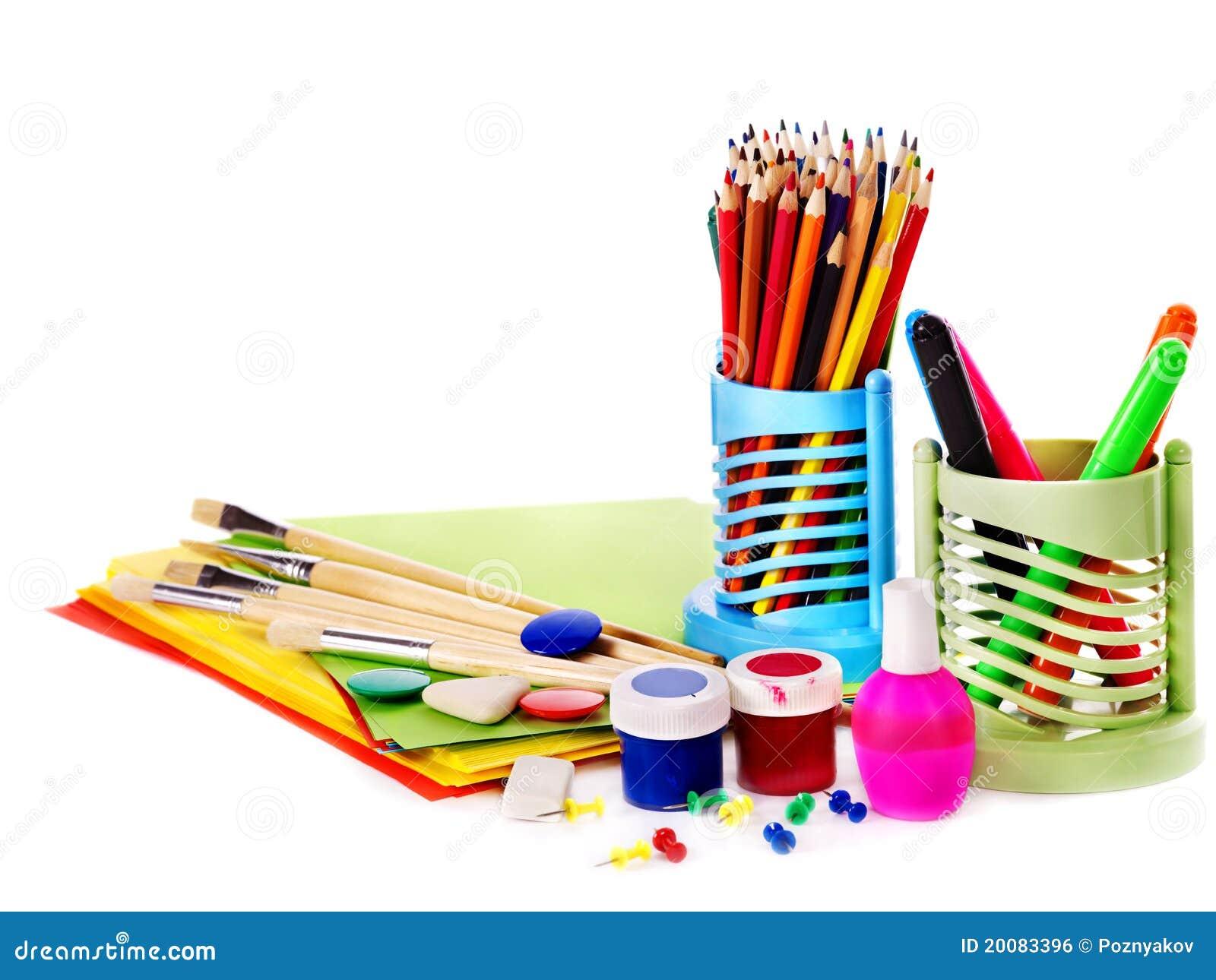 School art supplies stock photo. Image of brush, craft ...