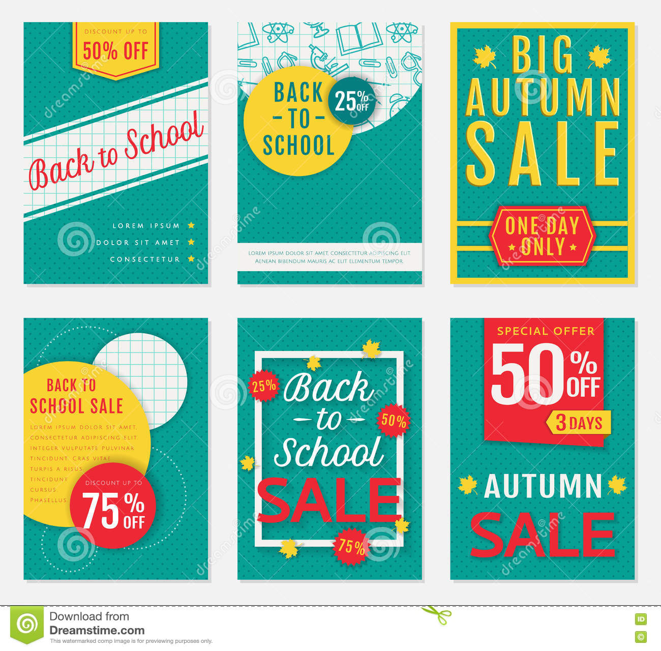 school and autumn sale banners stock vector illustration of