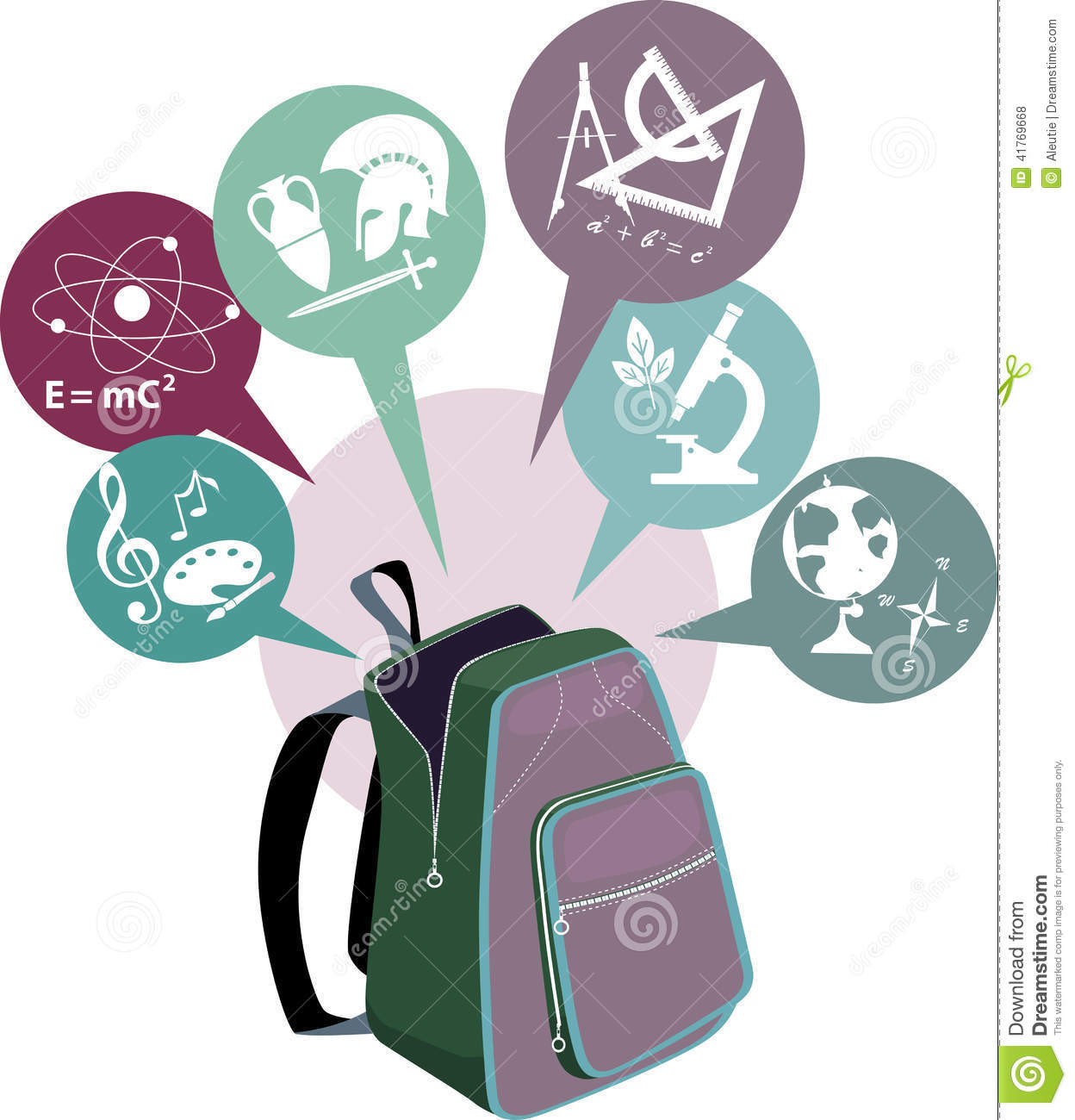 School Backpack And Symbols Of Subjects Stock Vector Illustration