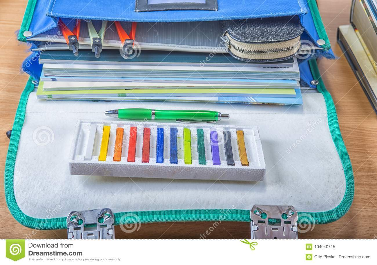 School Bag With Books, Notebooks, Pen And Pencils. Stock Image ...