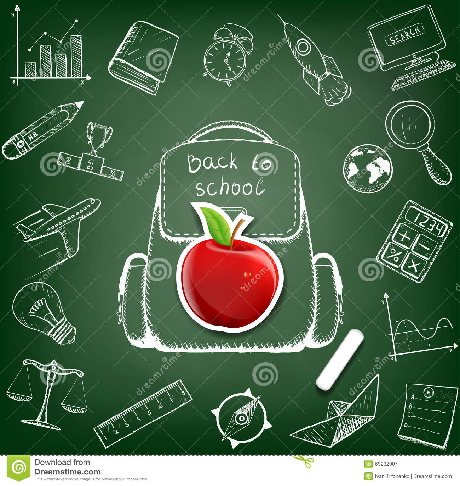 School bag diagram - School Bag Doodle Image