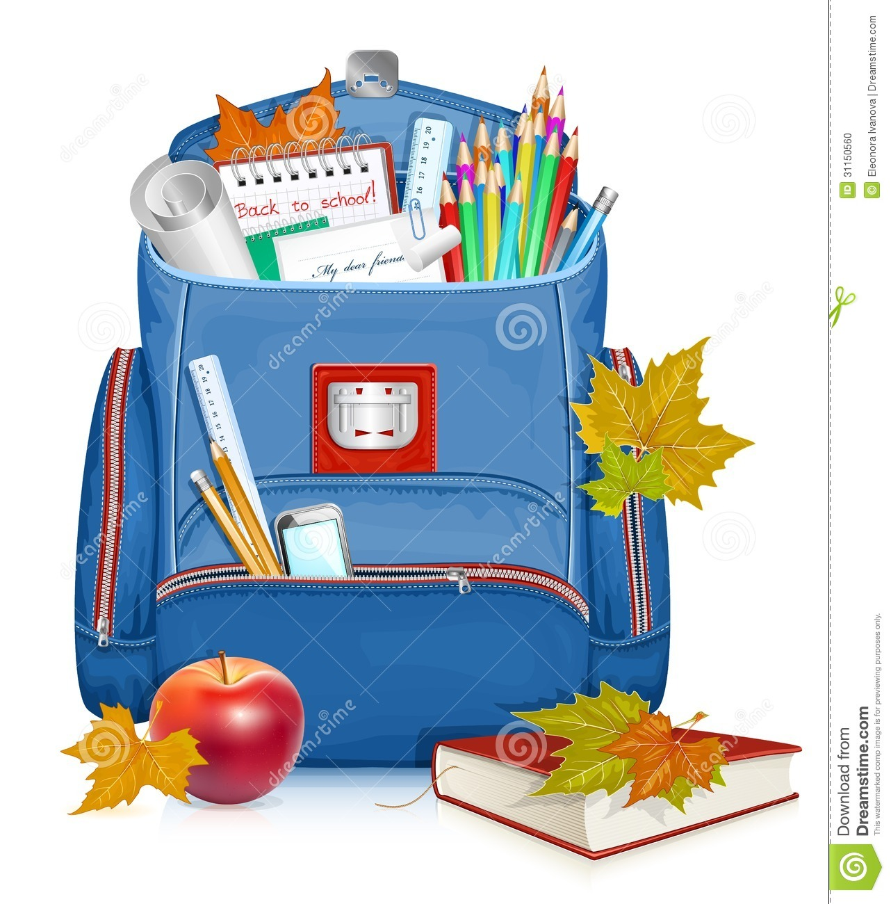 School bag with education objects