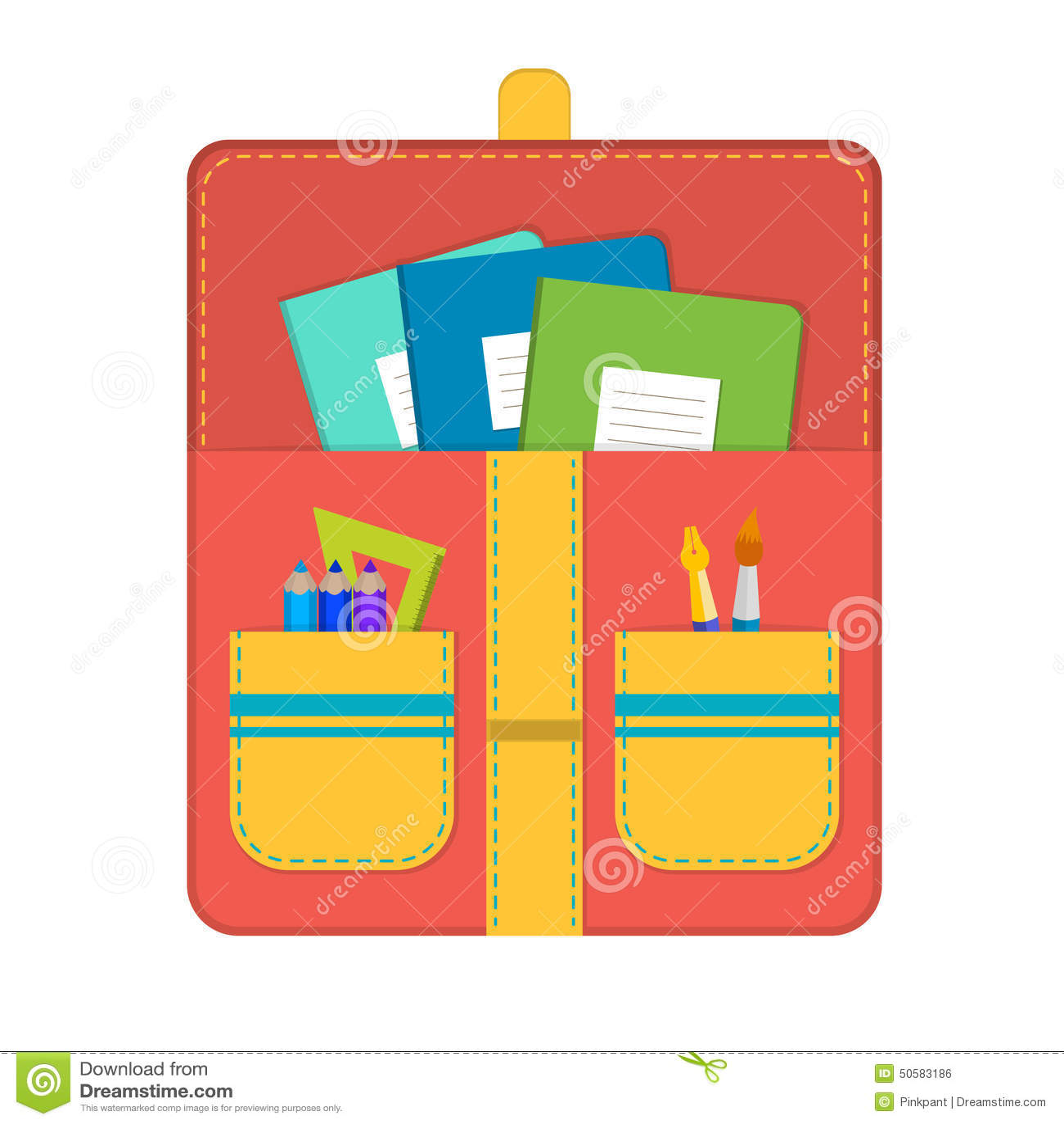 School bag diagram - School Bag With School Supplies