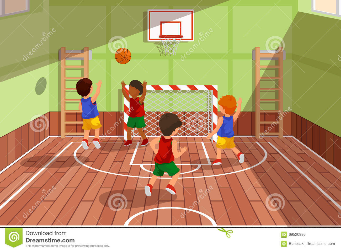 School basketball team playing game kids are