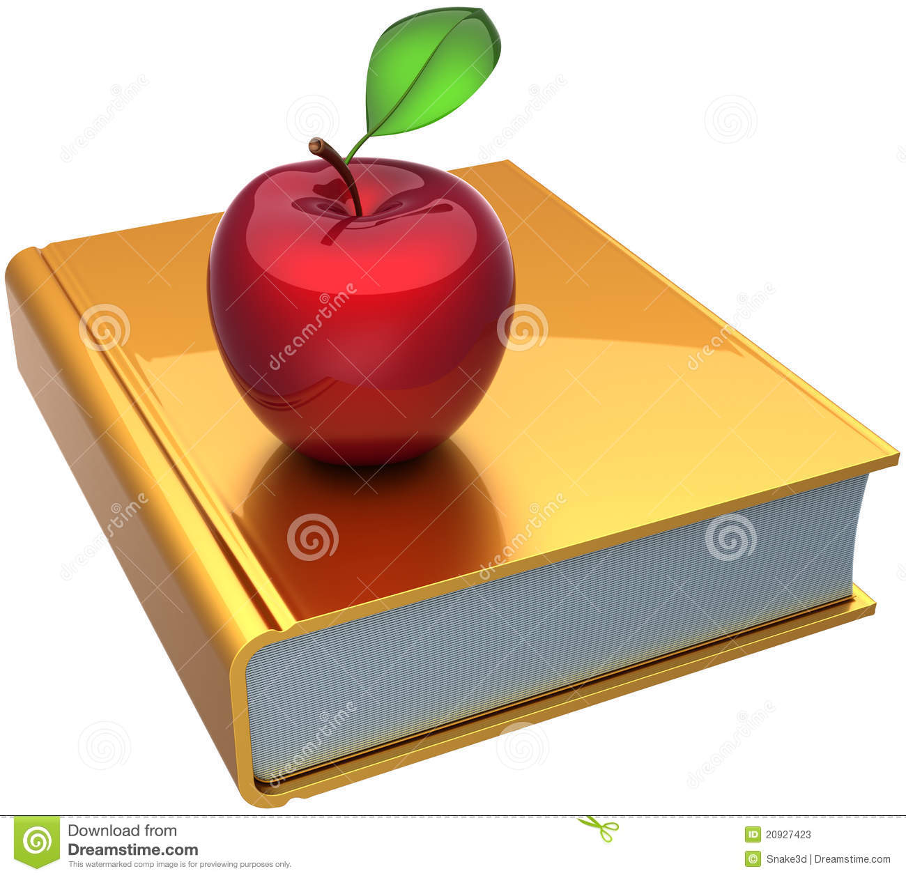 School book and apple colored golden red. Education knowledge reading ...