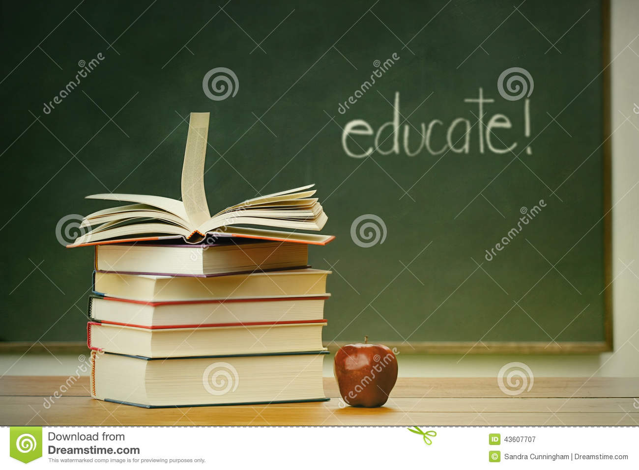 Download School Books And Apple On Desk Stock Image - Image of table, blackboard: 43607707