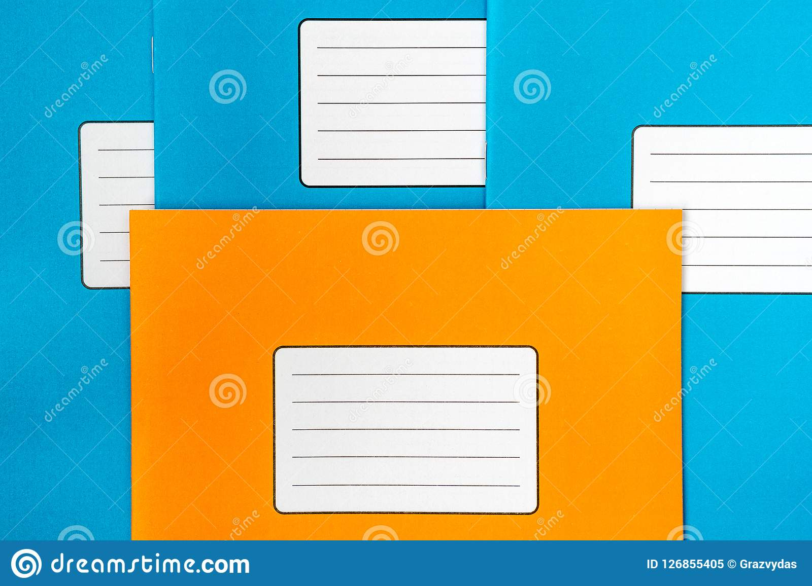 school books with blank labels stock image - image of notebook, back