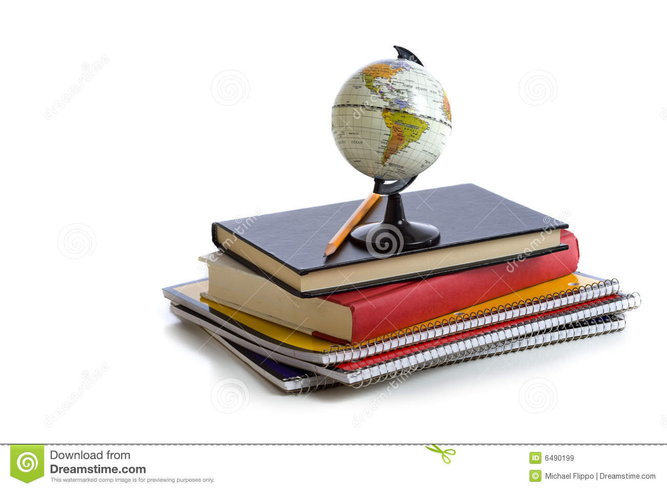 School Books And A Globe Royalty Free Stock Images - Image: 6490199