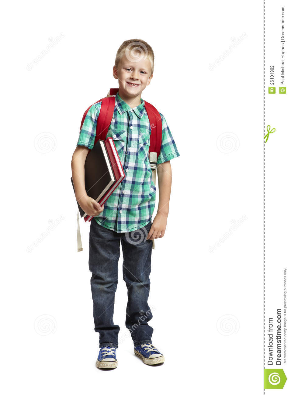 8 Year Boy Bedroom Design: School Boy With Backpack On White Background Stock