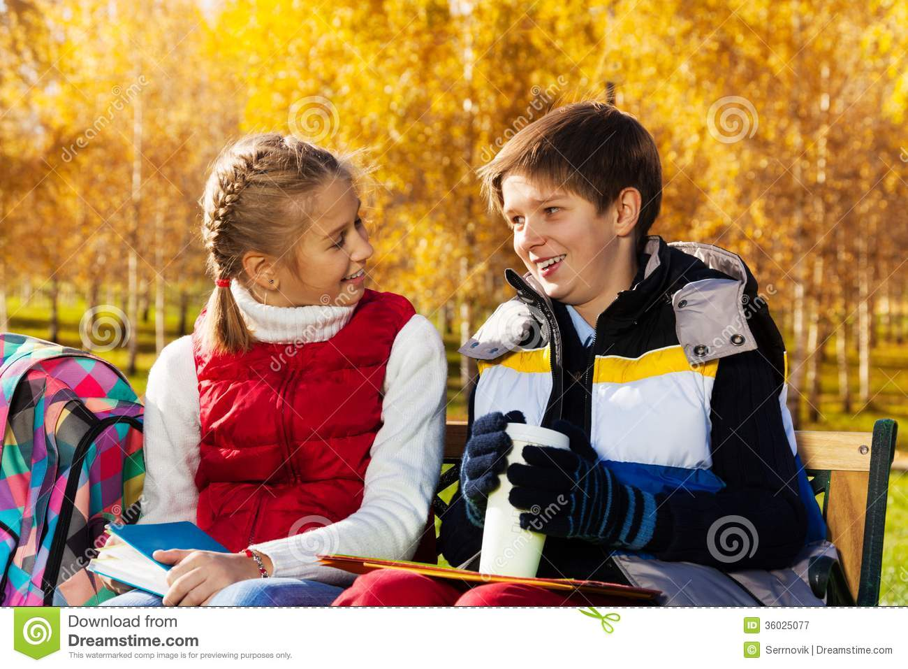 School Boy And Girl Talking Royalty Free Stock Photography - Image ...