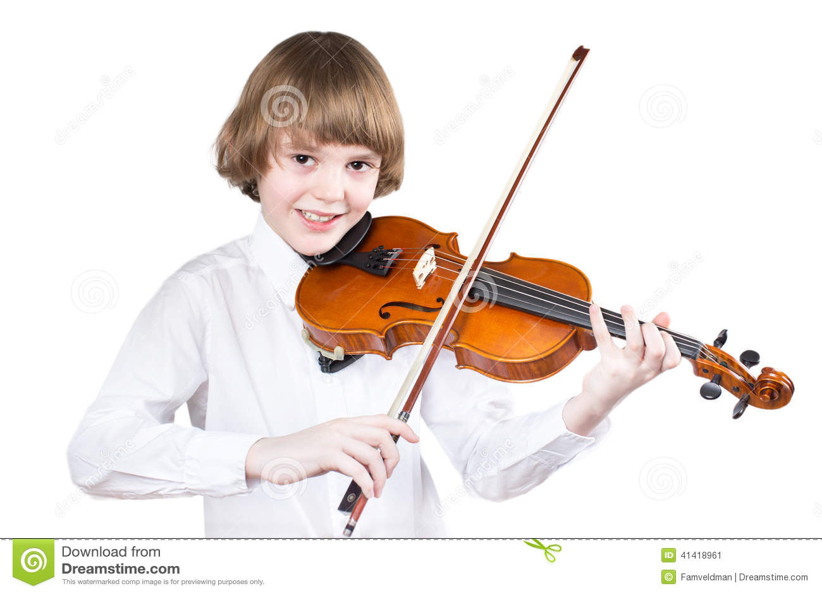 School boy playing violin