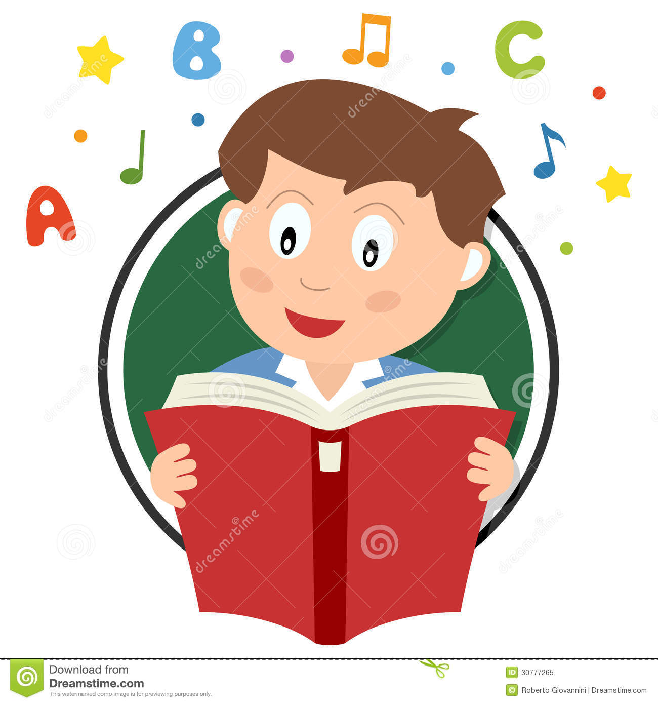 School boy reading a book logo, isolated on white background. Eps file ...