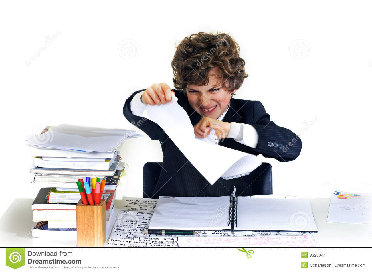 School Boy Ripping Up Homework Stock Image Image 8328041