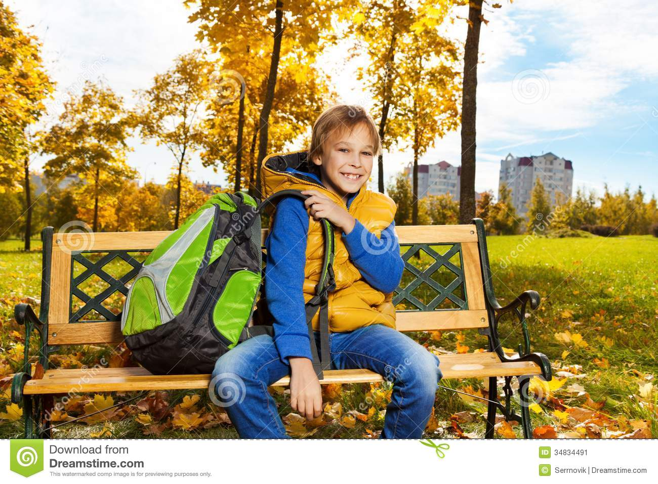 School Boy Sitting On Bench In Autumn Park Stock Image - Image of ... 3b80ae6be8d20