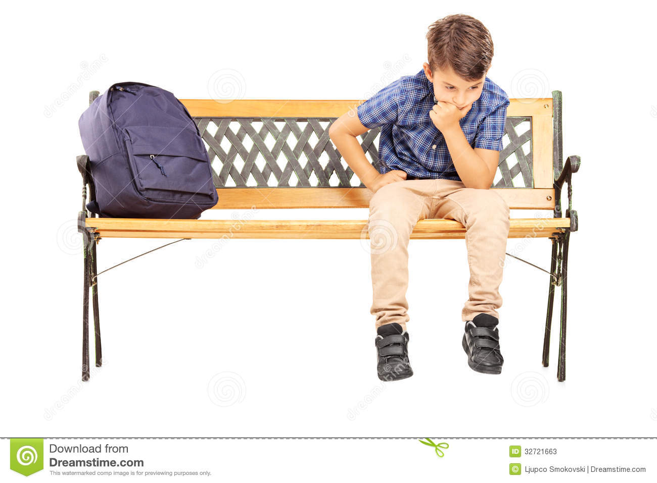 School Boy Sitting On A Bench And Thinking Stock Photos Image 32721663