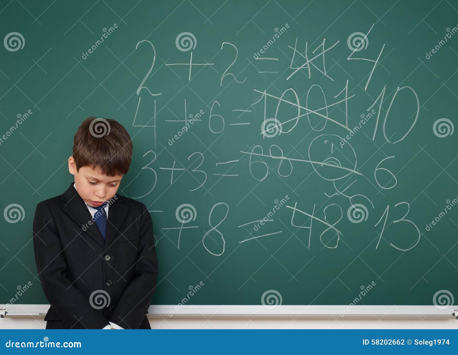 School Boy Solve Math On School Board Stock Photo - Image of ...