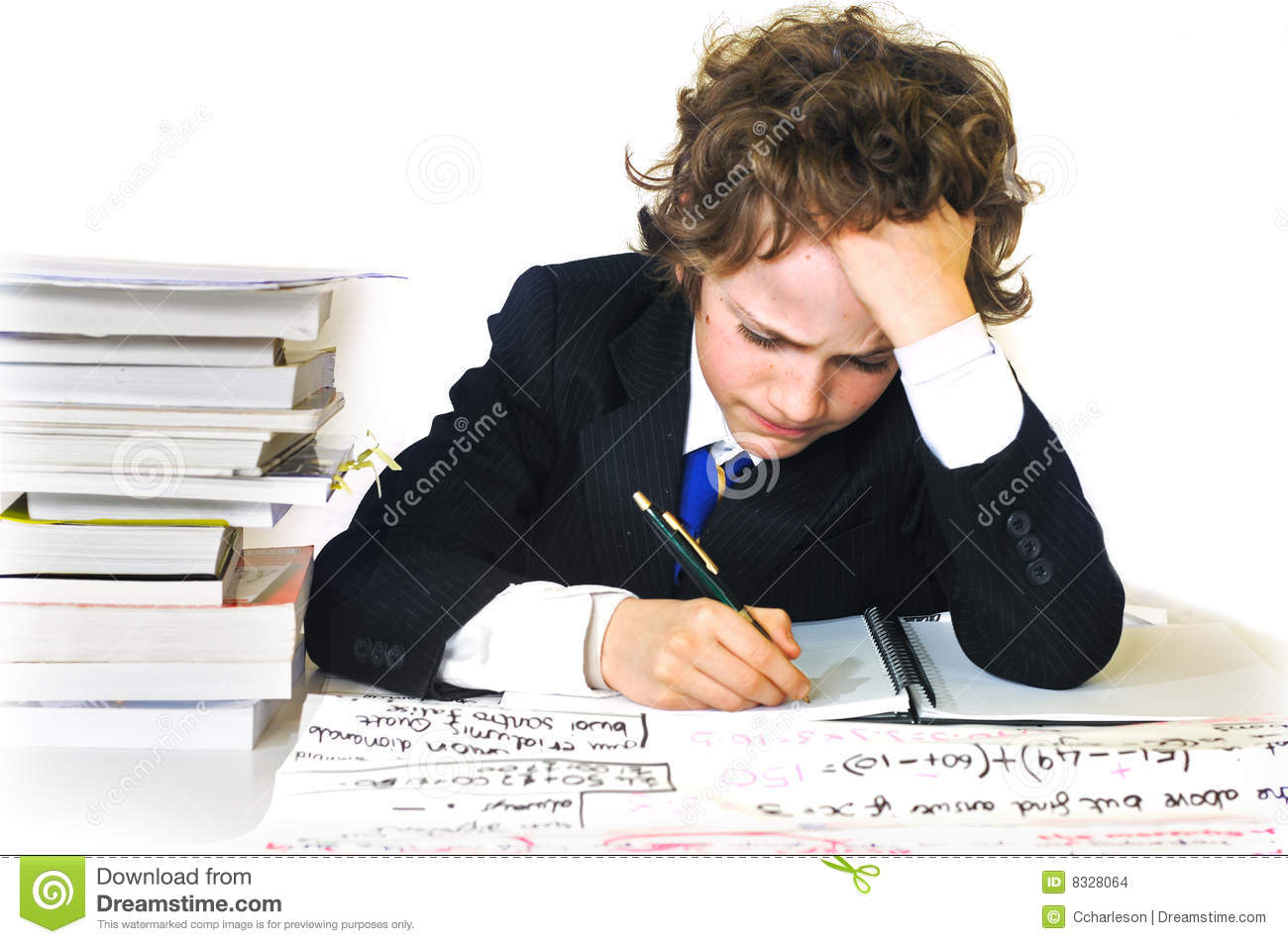 School Boy Working Hard Stock Images - Image: 8328064