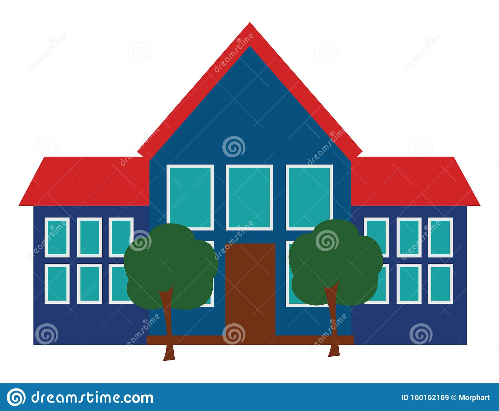 Clipart Of The School And Its Premises Viewed From The Front Vector Or Color Illustration Stock Vector Illustration Of Front Wall 160162169