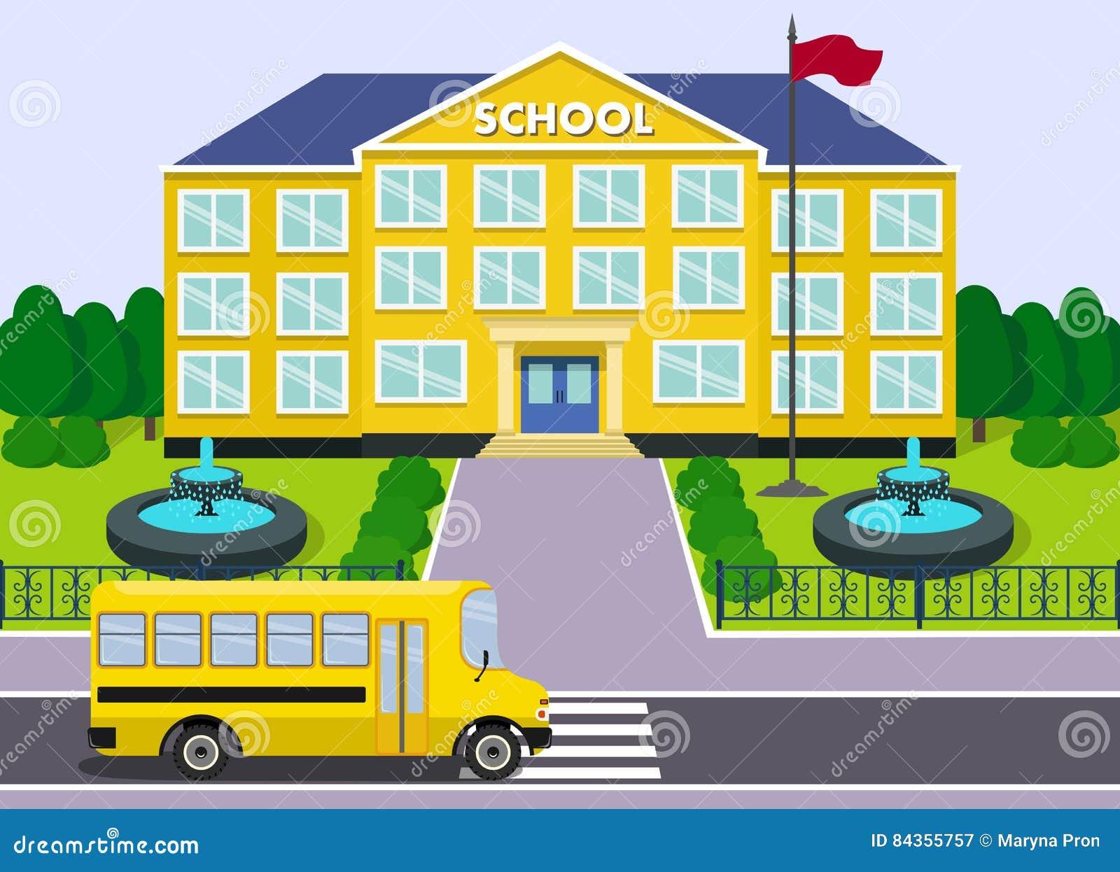 School Building And Bus. Vector Graphic. Stock Vector ...