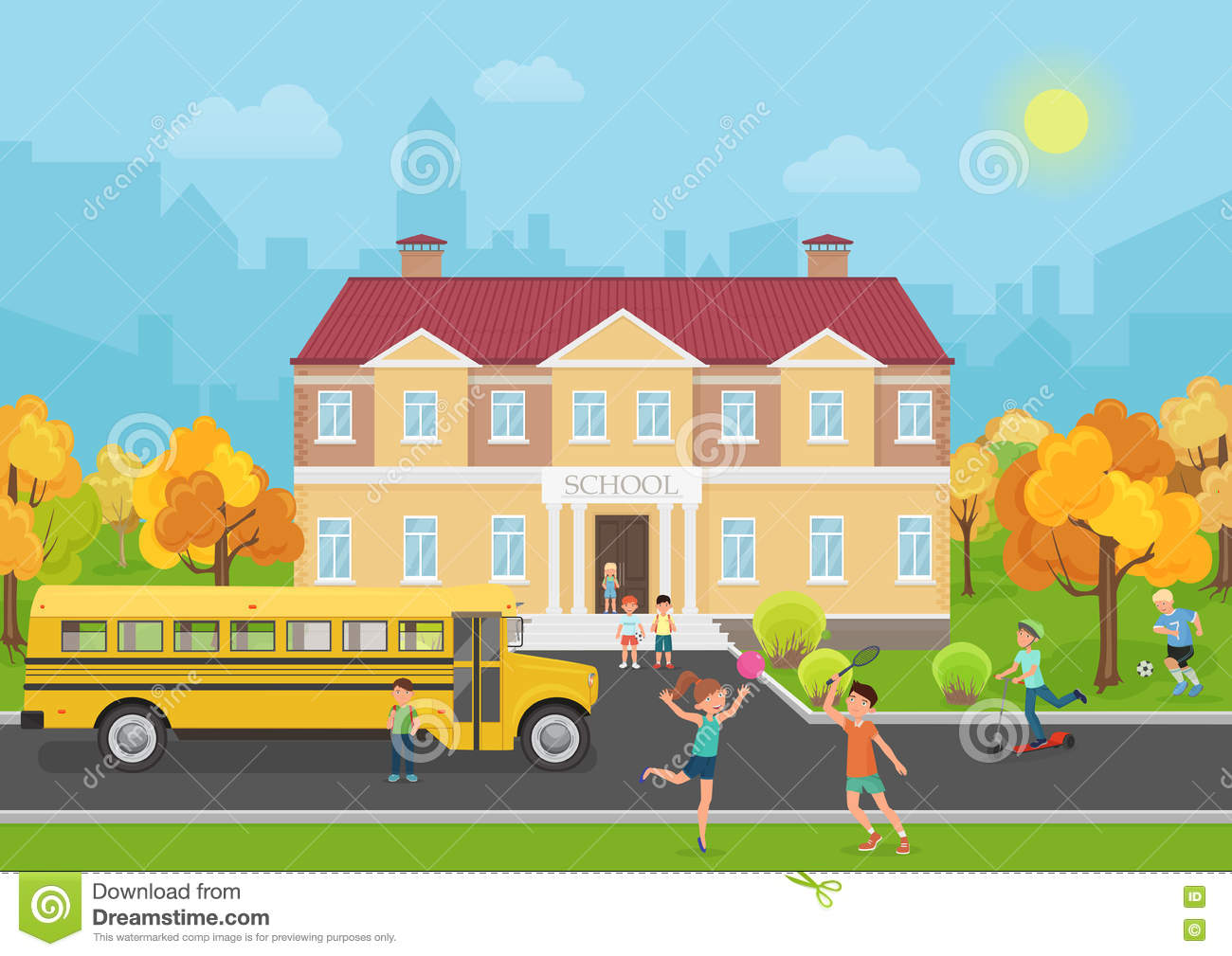 Kids Standing Infront Of A House Animated