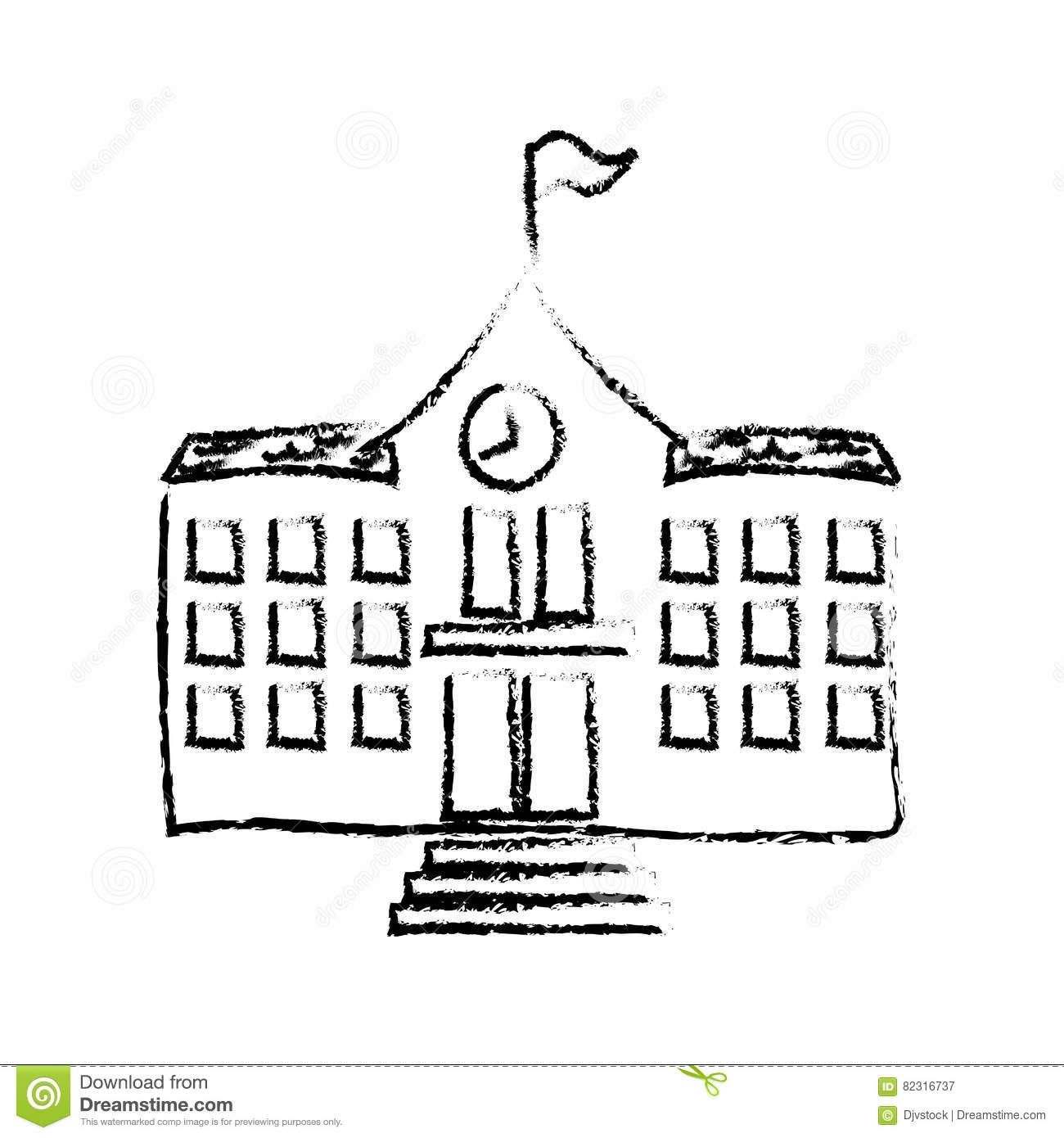 School building draw stock illustration. Illustration of ...