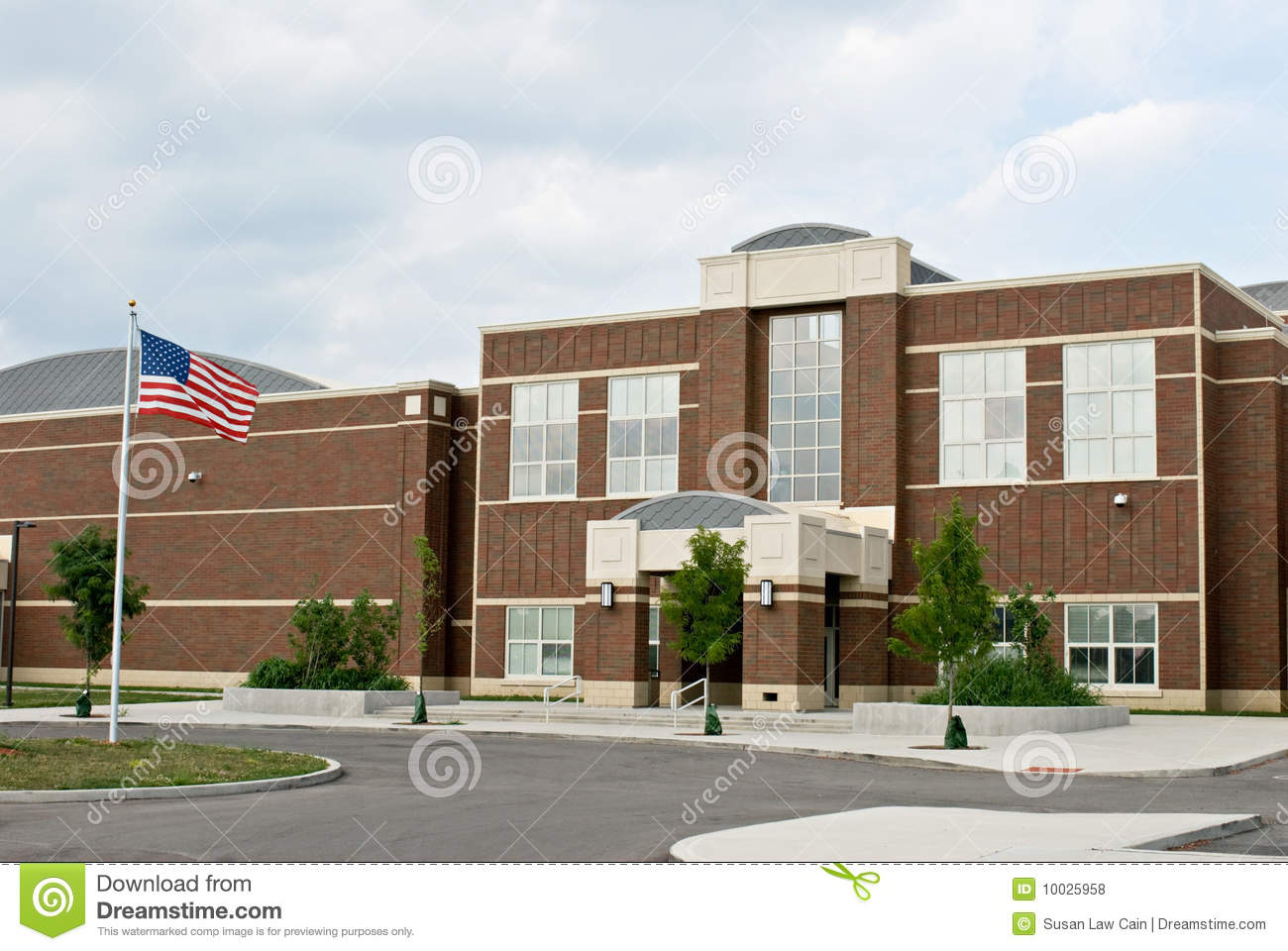 School Building with Flag