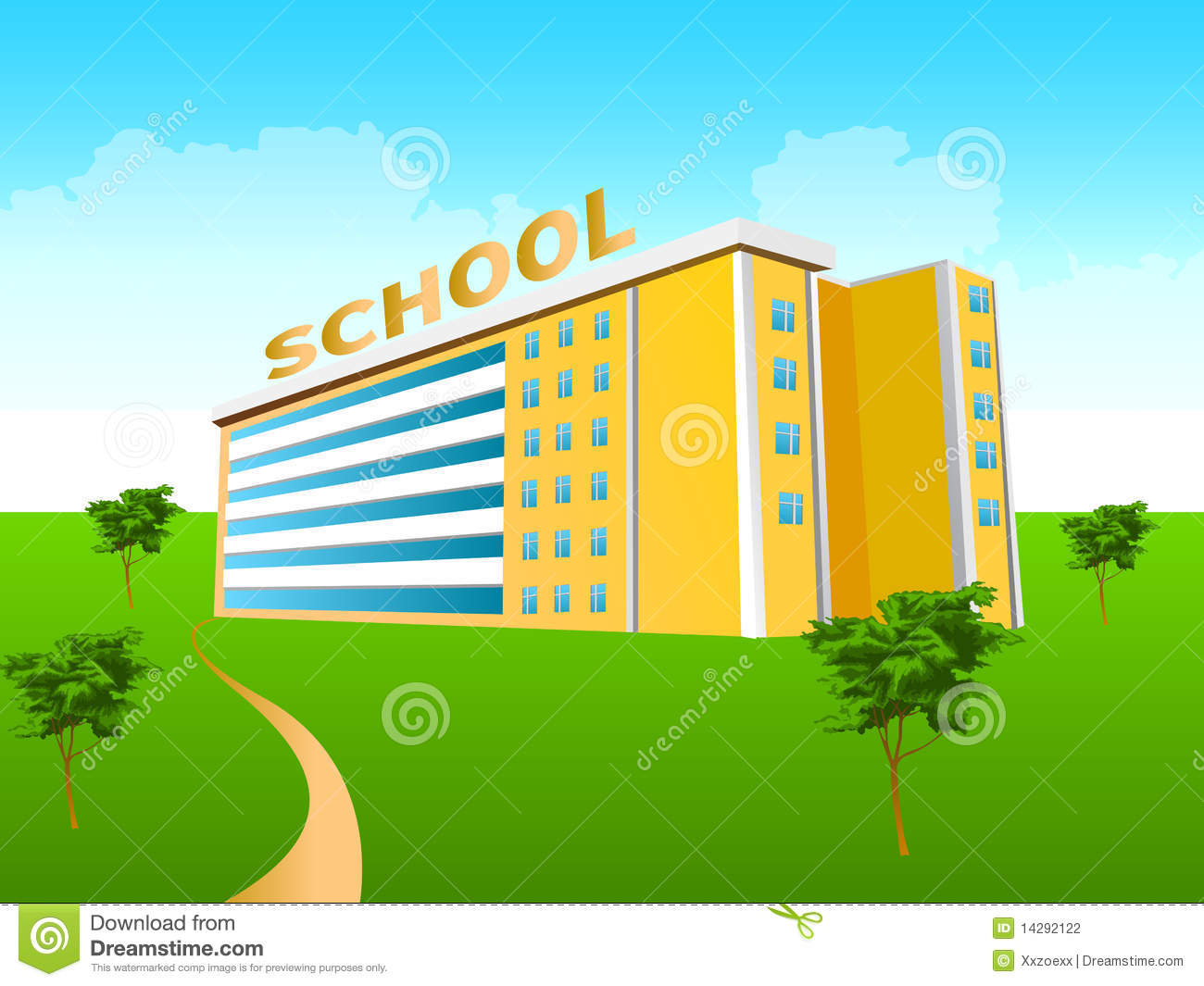 School Building In The Green Stock Photography - Image: 14292122